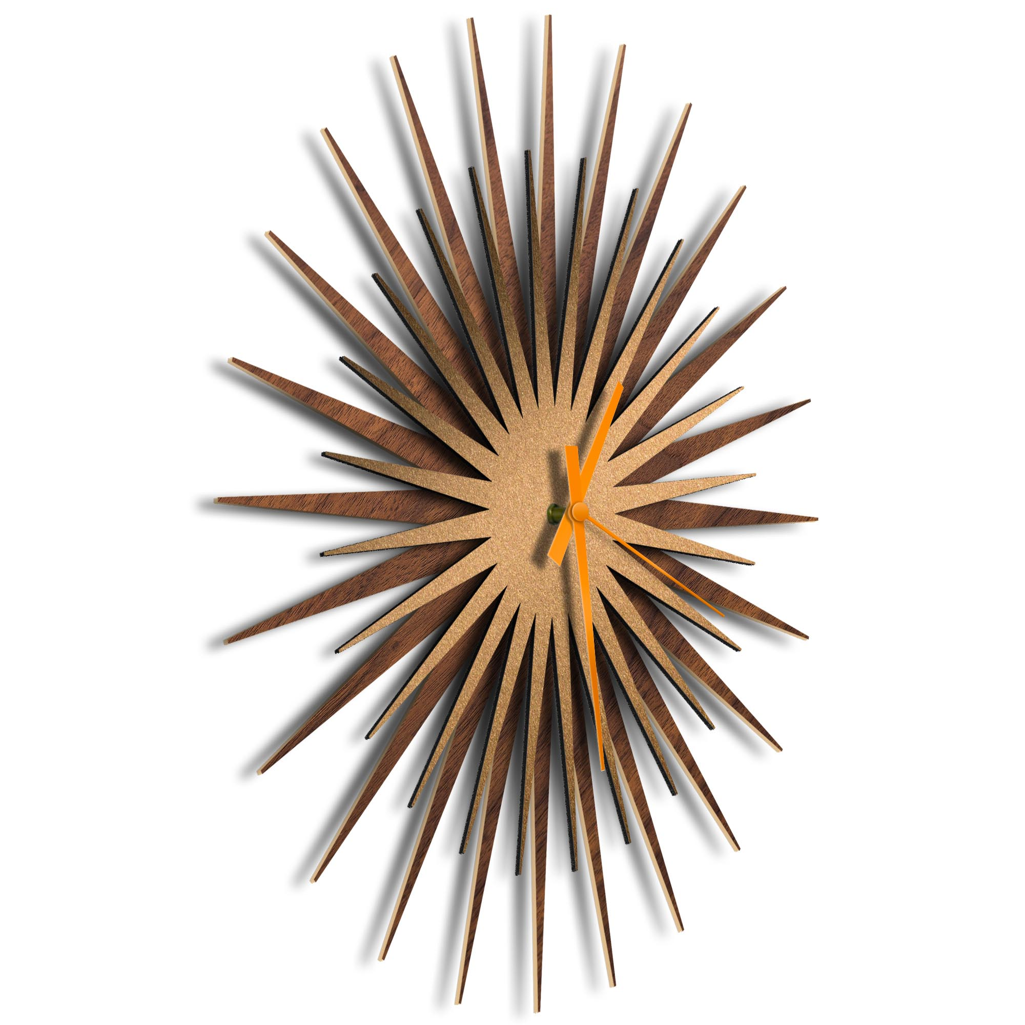 Atomic Era Clock Walnut Bronze Orange by Adam Schwoeppe - Mid-Century Modern Clock on Brushed Walnut Polymetal - Image 2