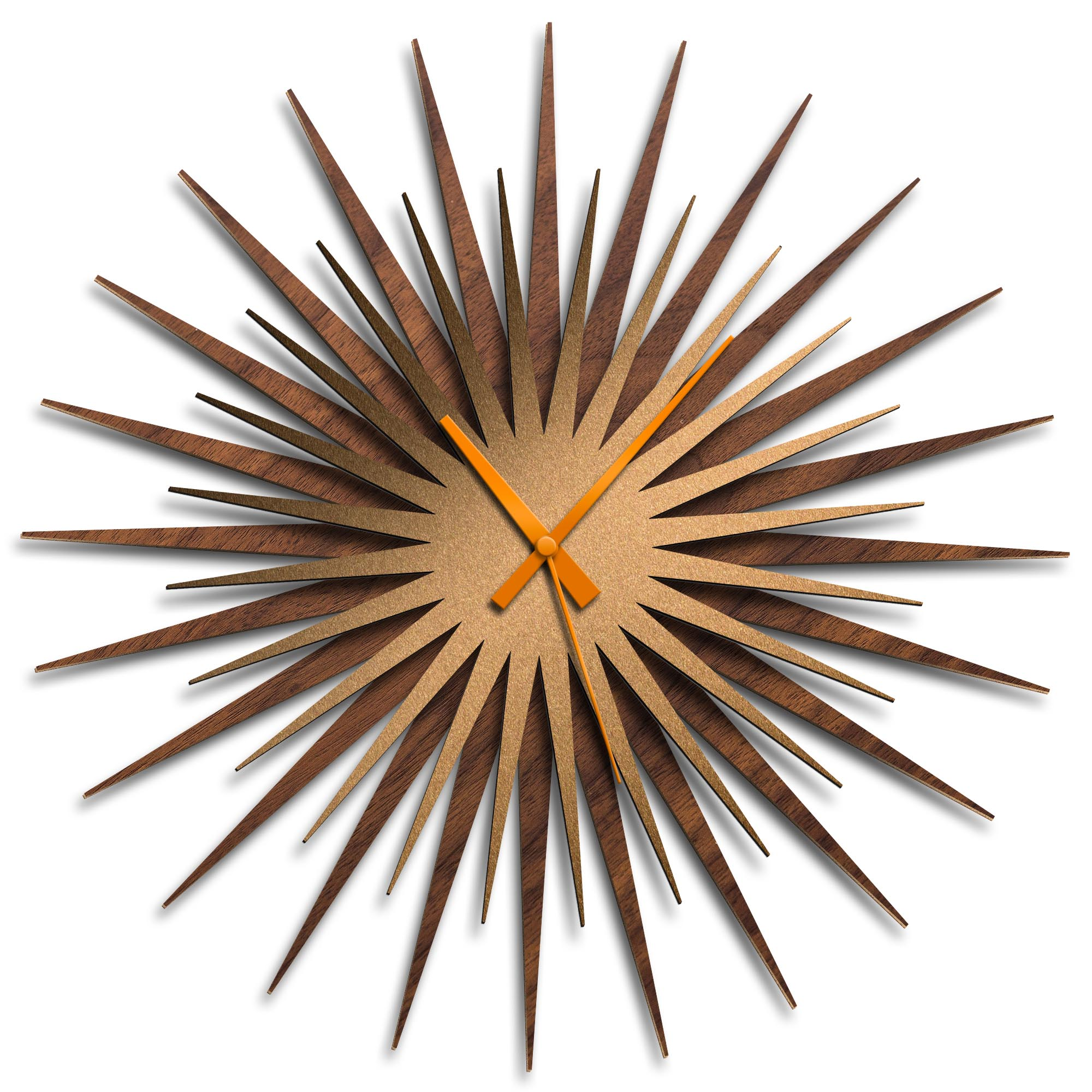 Adam Schwoeppe 'Atomic Era Clock Walnut Bronze Orange' Midcentury Modern Style Wall Clock