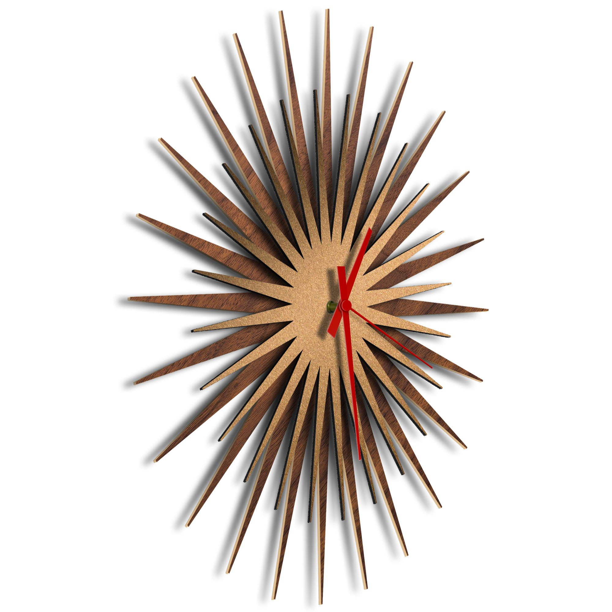 Atomic Era Clock Walnut Bronze Red by Adam Schwoeppe - Mid-Century Modern Clock on Brushed Walnut Polymetal - Image 2