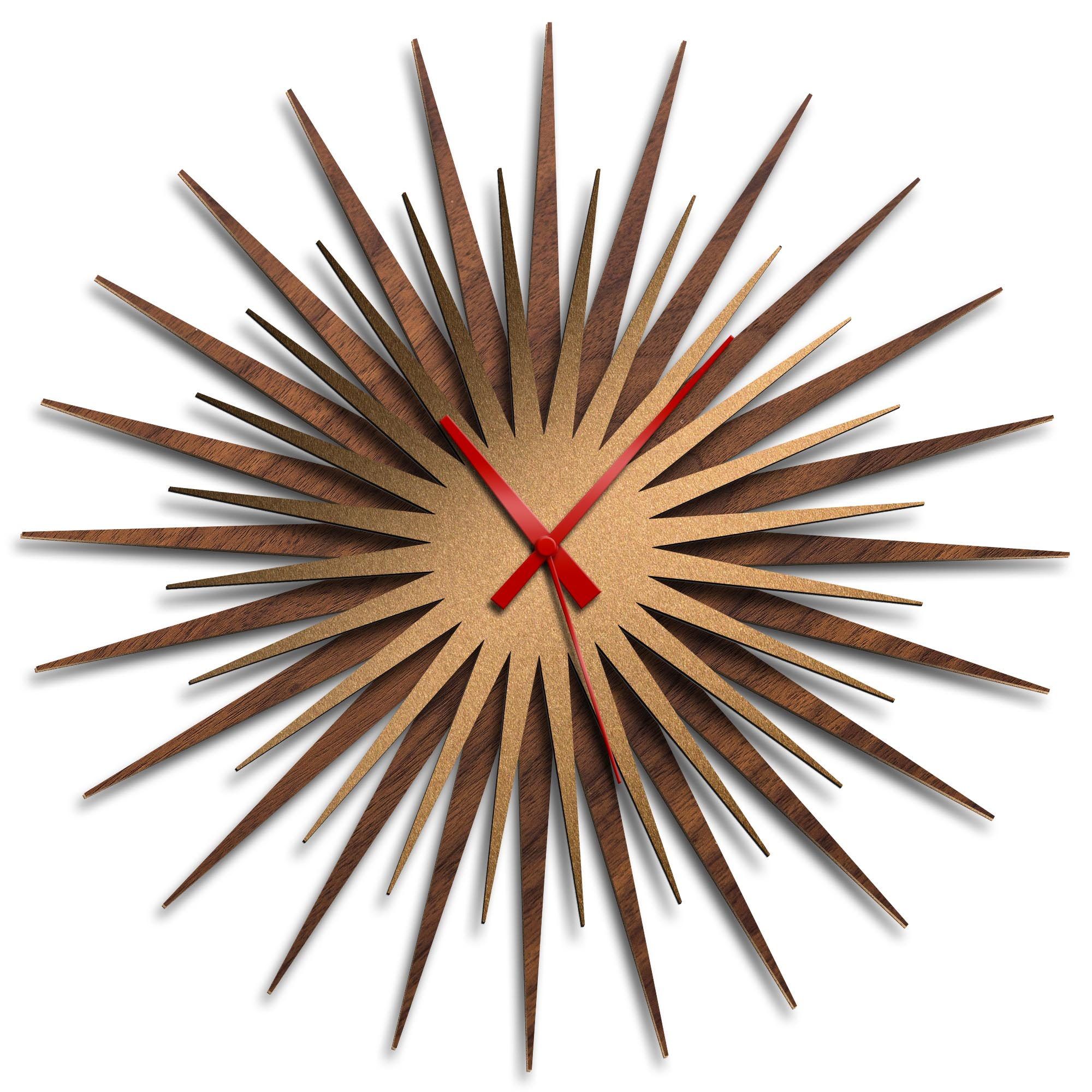 Adam Schwoeppe 'Atomic Era Clock Walnut Bronze Red' Midcentury Modern Style Wall Clock