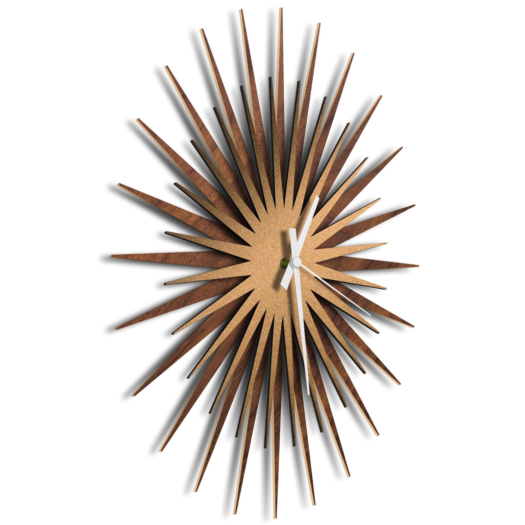 Atomic Era Clock Walnut Bronze White by Adam Schwoeppe - Mid-Century Modern Clock on Brushed Walnut Polymetal - Image 2