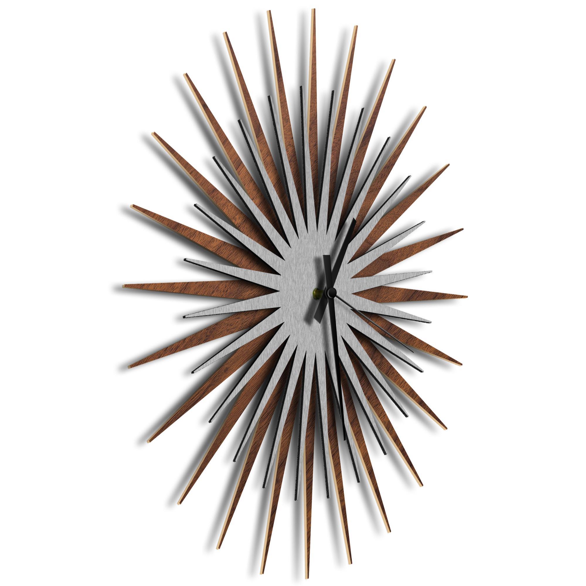 Atomic Era Clock Walnut Silver Black by Adam Schwoeppe - Mid-Century Modern Clock on Brushed Walnut Polymetal - Image 2