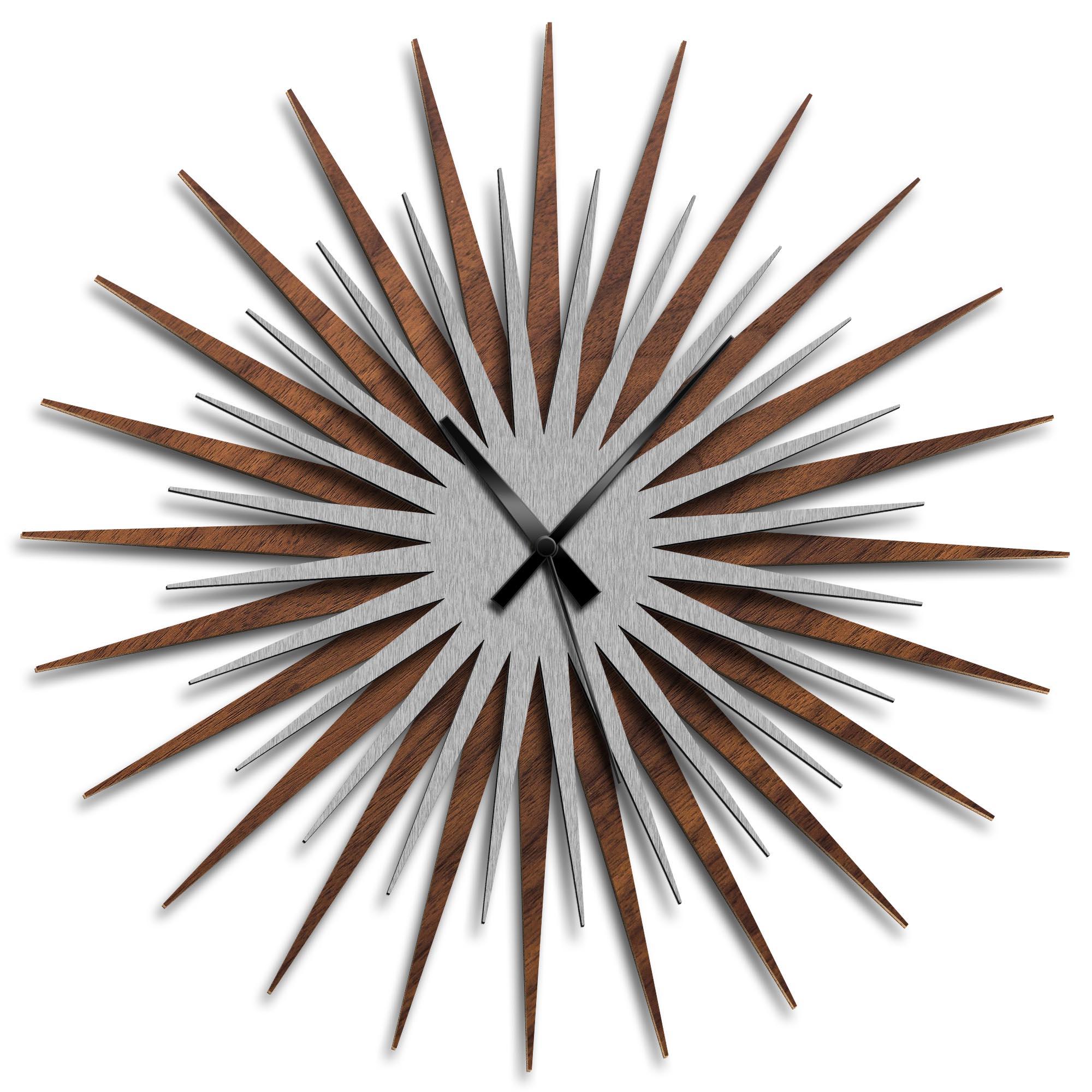 Adam Schwoeppe 'Atomic Era Clock Walnut Silver Black' Midcentury Modern Style Wall Clock