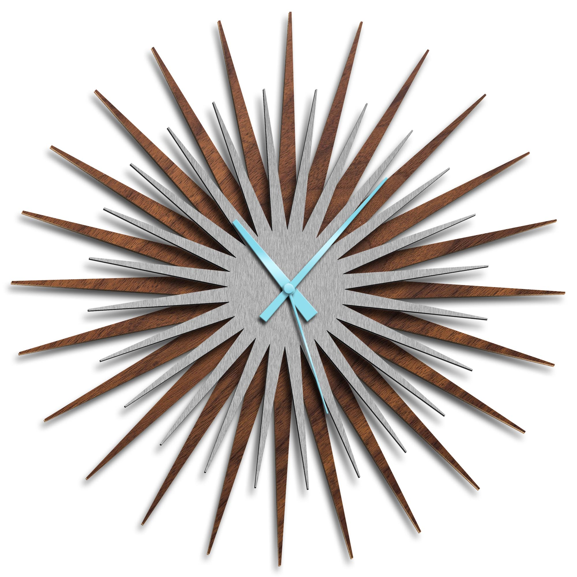 Adam Schwoeppe 'Atomic Era Clock Walnut Silver Blue' Midcentury Modern Style Wall Clock