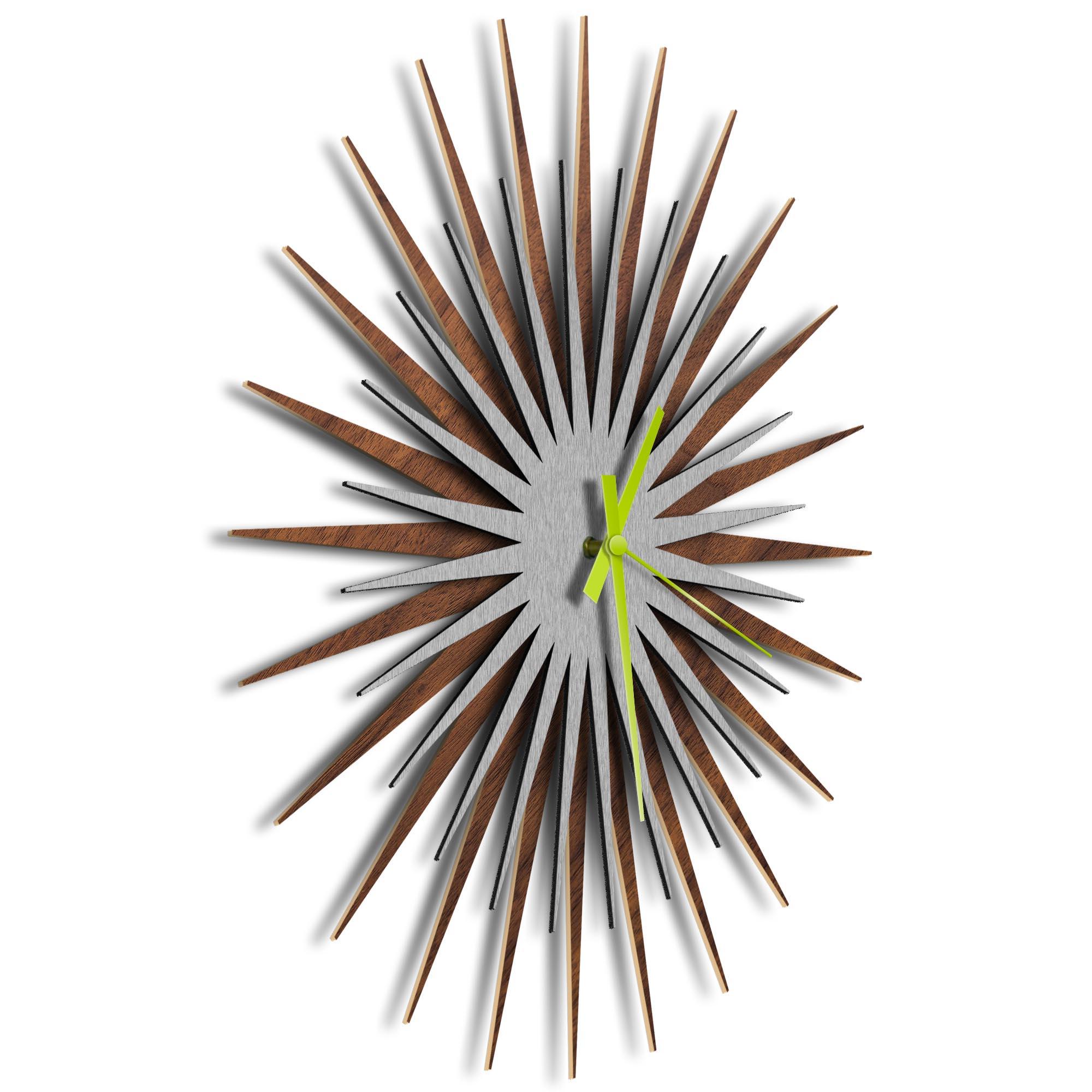Atomic Era Clock Walnut Silver Green by Adam Schwoeppe - Mid-Century Modern Clock on Brushed Walnut Polymetal - Image 2