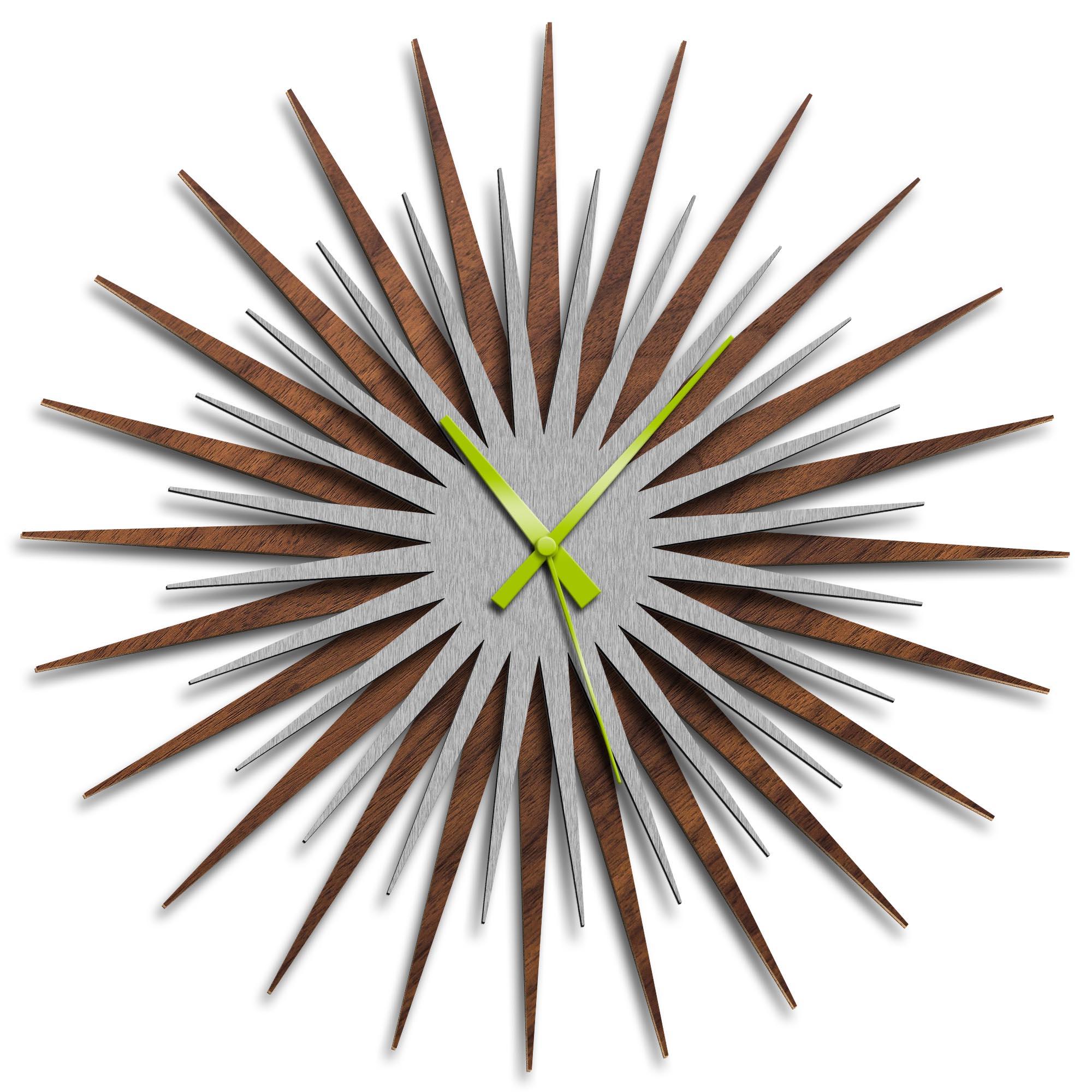 Adam Schwoeppe 'Atomic Era Clock Walnut Silver Green' Midcentury Modern Style Wall Clock