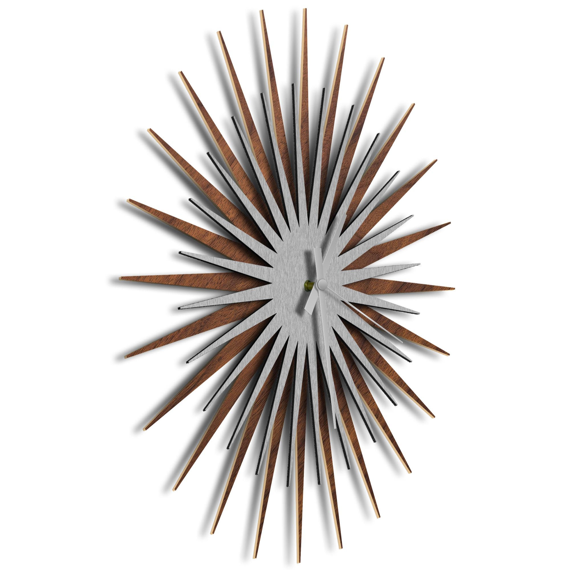 Atomic Era Clock Walnut Silver Grey by Adam Schwoeppe - Mid-Century Modern Clock on Brushed Walnut Polymetal - Image 2