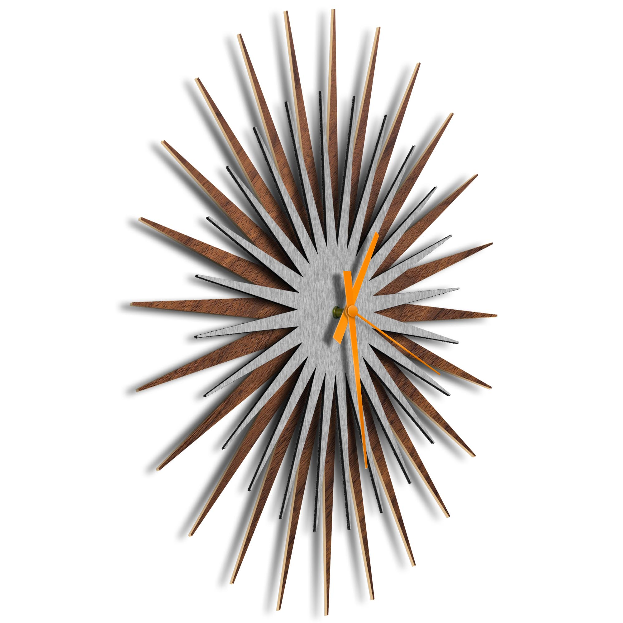 Atomic Era Clock Walnut Silver Orange by Adam Schwoeppe - Mid-Century Modern Clock on Brushed Walnut Polymetal - Image 2