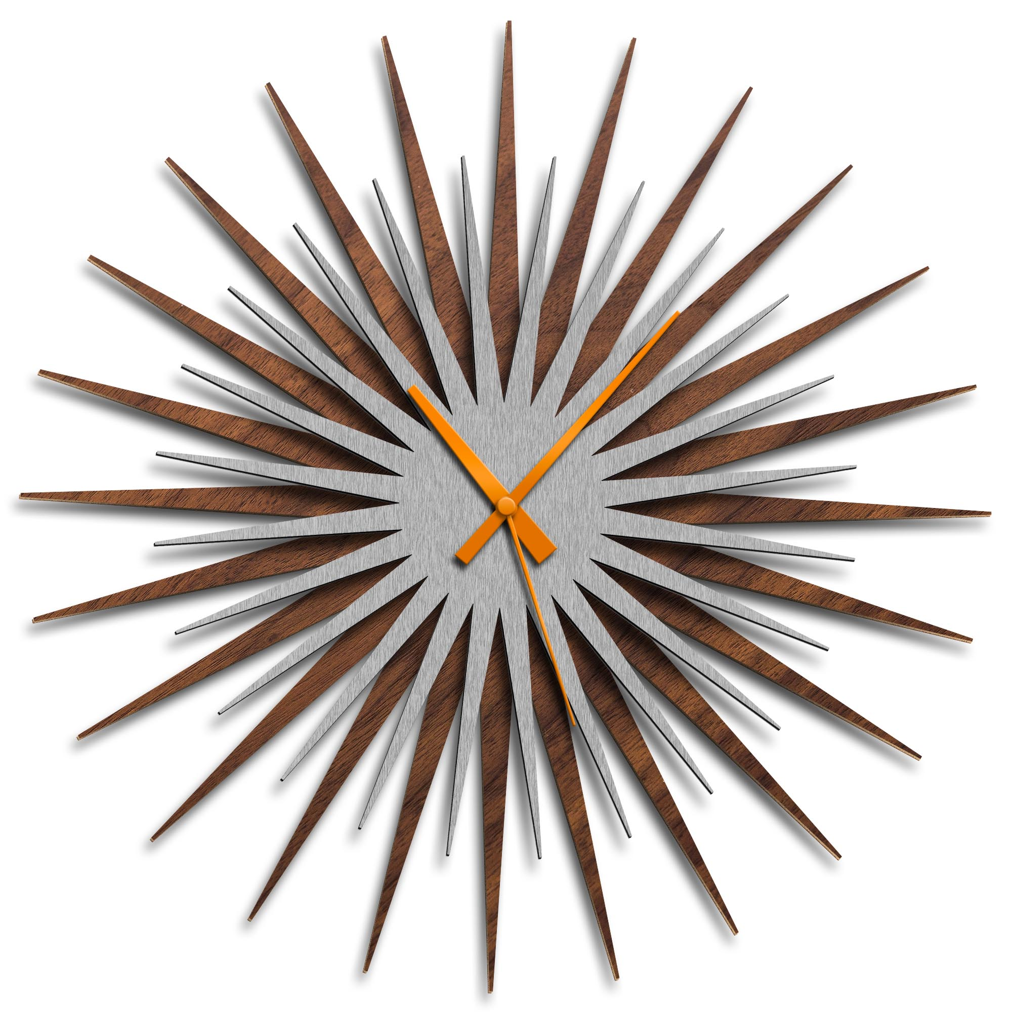 Adam Schwoeppe 'Atomic Era Clock Walnut Silver Orange' Midcentury Modern Style Wall Clock