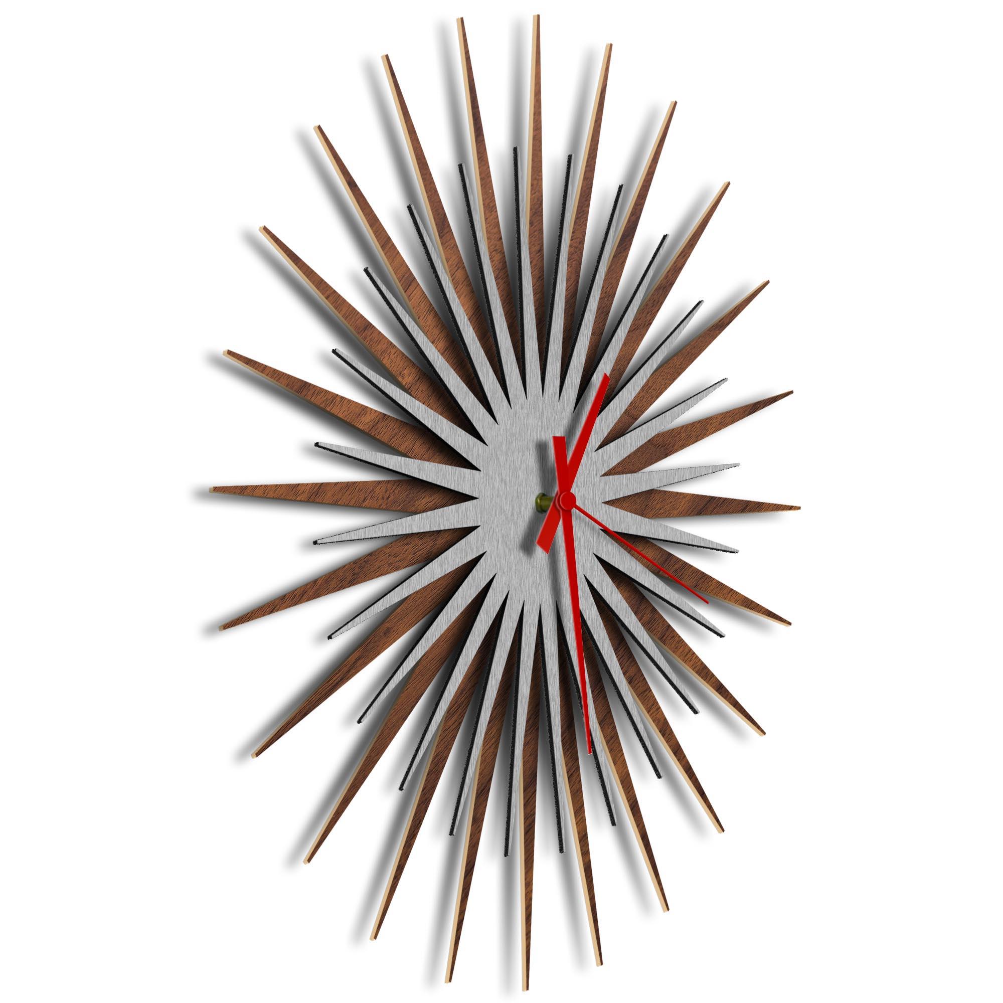 Atomic Era Clock Walnut Silver Red by Adam Schwoeppe - Mid-Century Modern Clock on Brushed Walnut Polymetal - Image 2