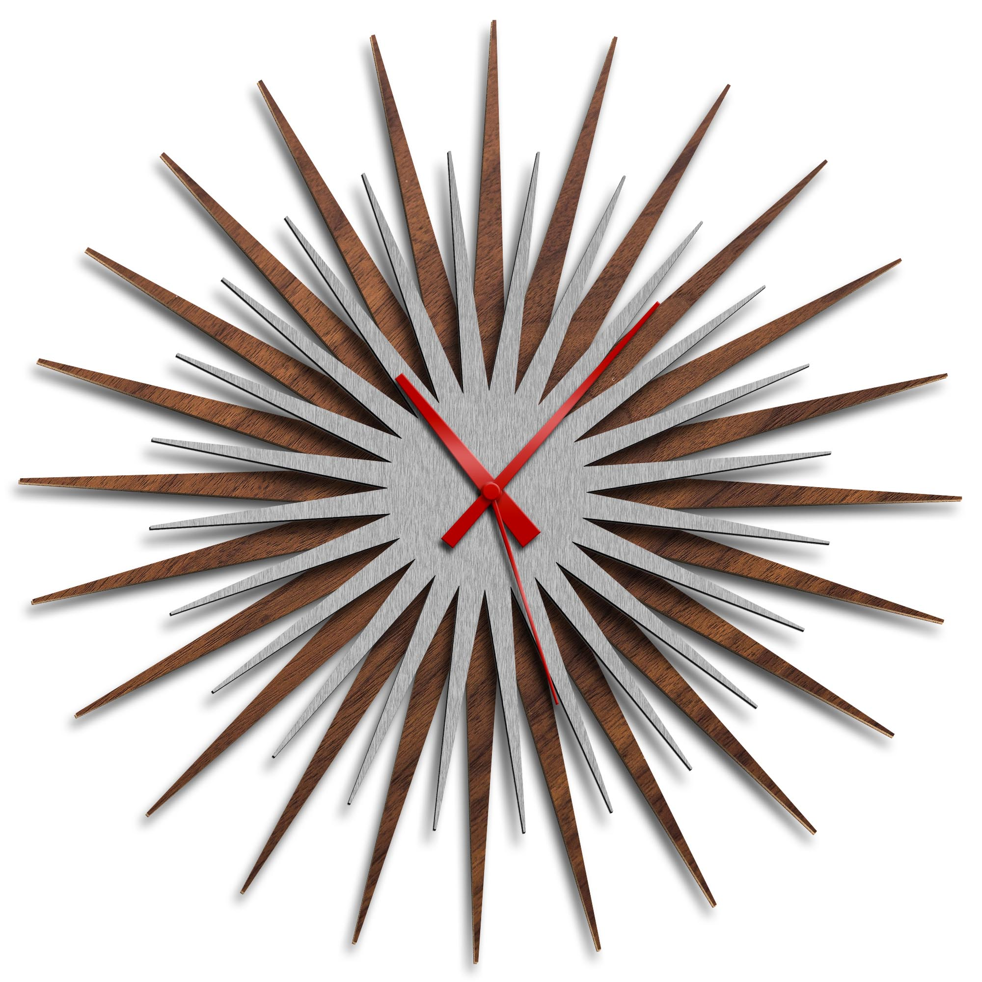 Adam Schwoeppe 'Atomic Era Clock Walnut Silver Red' Midcentury Modern Style Wall Clock