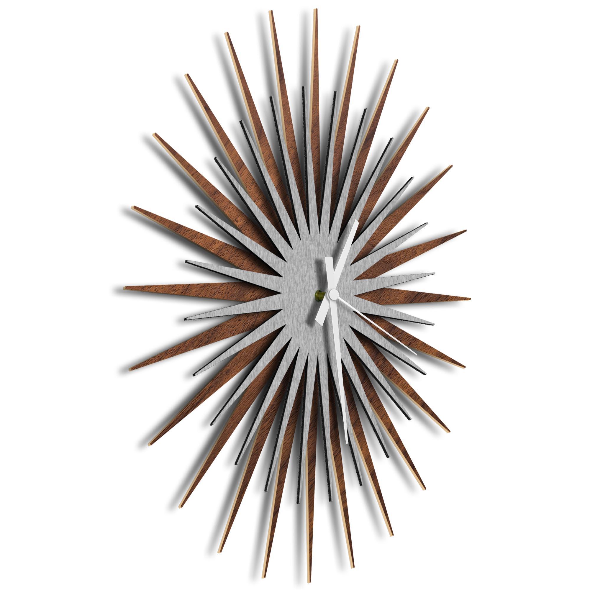 Atomic Era Clock Walnut Silver White by Adam Schwoeppe - Mid-Century Modern Clock on Brushed Walnut Polymetal - Image 2