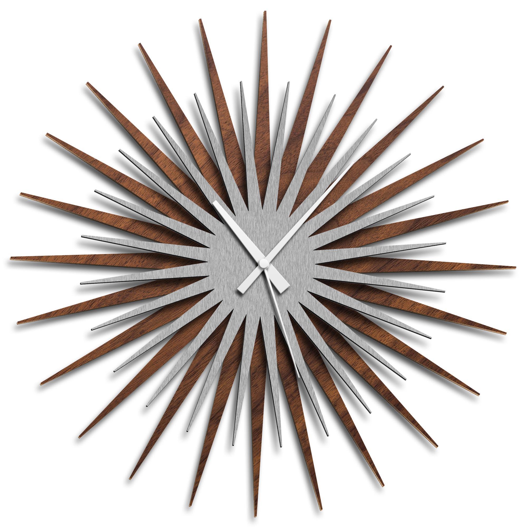 Adam Schwoeppe 'Atomic Era Clock Walnut Silver White' Midcentury Modern Style Wall Clock