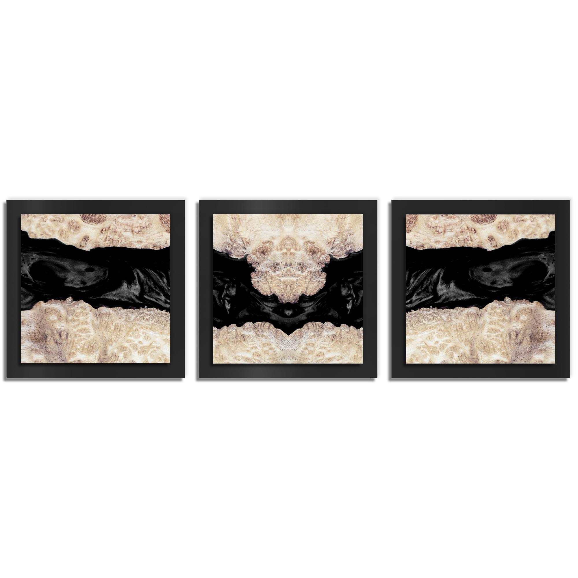 Adam Schwoeppe 'Charcoal Wood Essence Black' 38in x 12in Contemporary Style Wood Wall Art