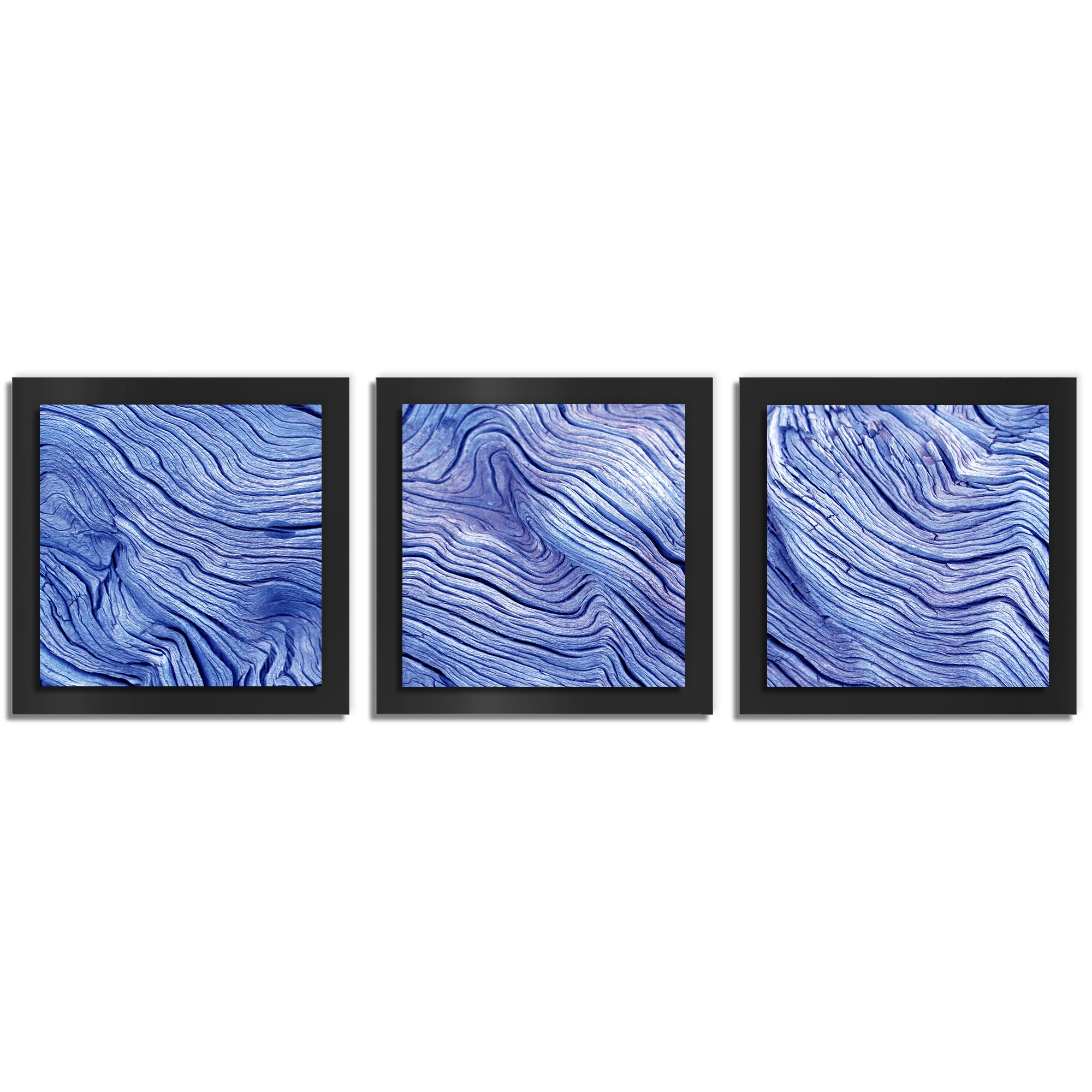 Adam Schwoeppe 'Blue Wood Essence Black' 38in x 12in Contemporary Style Wood Wall Art