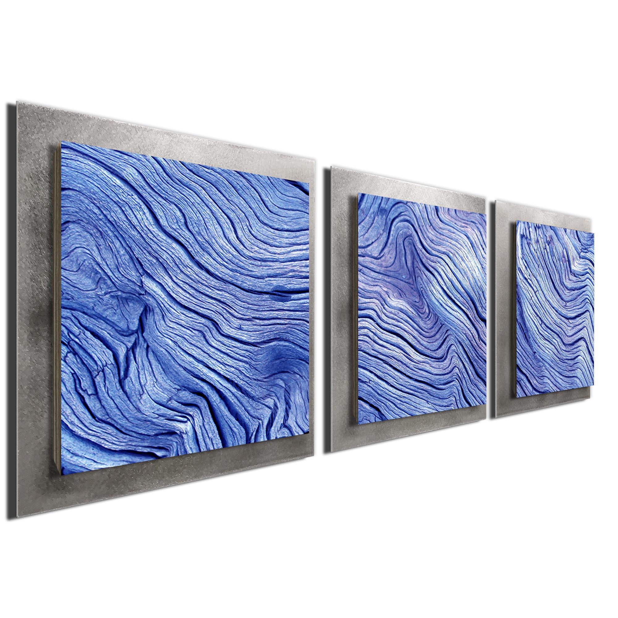 Blue Wood Essence Silver by Adam Schwoeppe Rustic Modern Style Wood Wall Art - Image 2