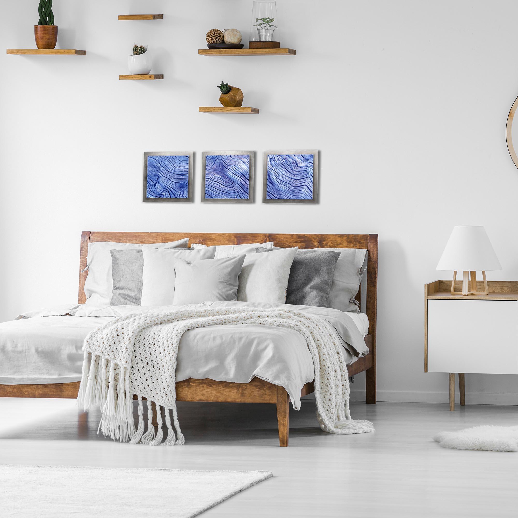Blue Wood Essence Silver by Adam Schwoeppe Rustic Modern Style Wood Wall Art - Lifestyle View