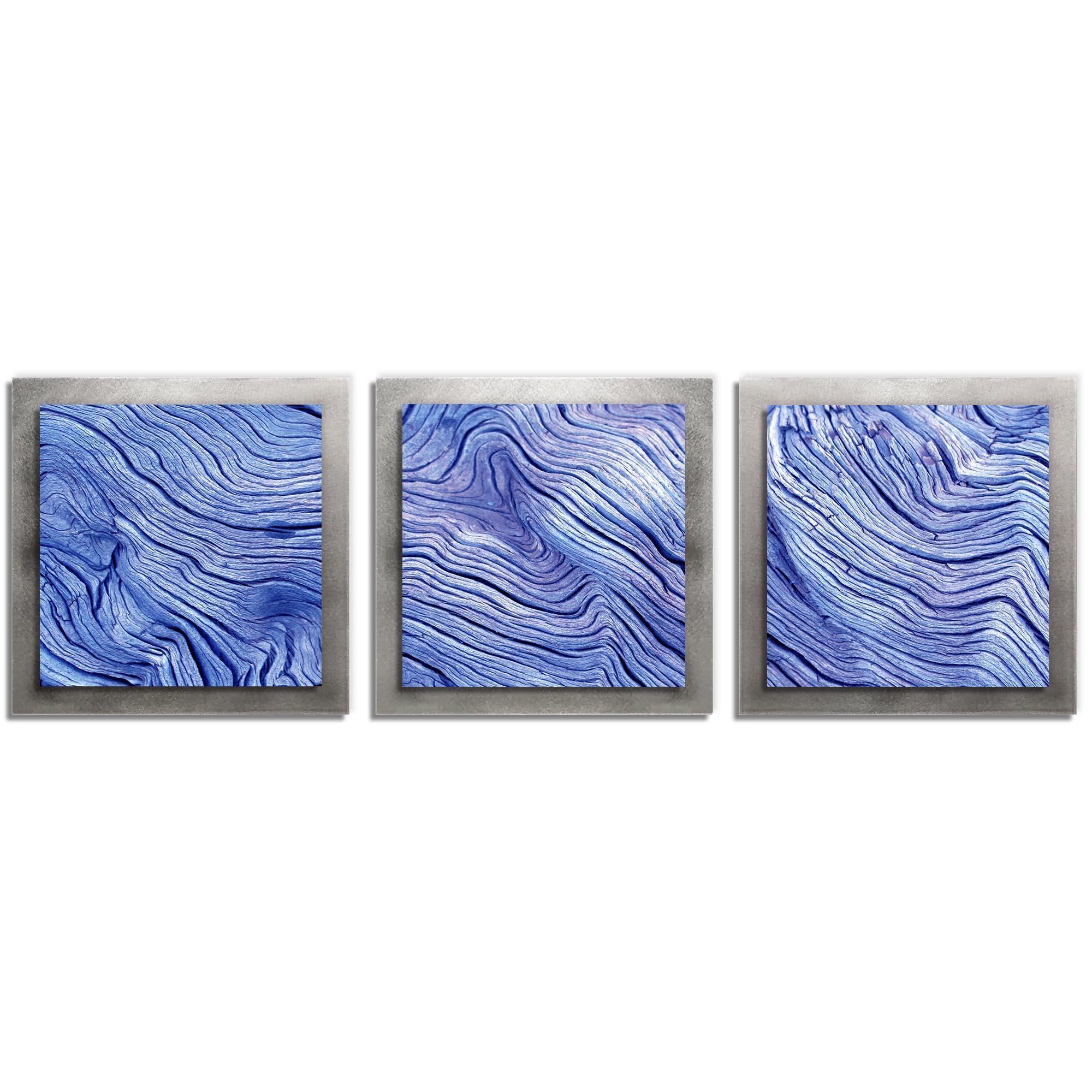 Adam Schwoeppe 'Blue Wood Essence Silver' 38in x 12in Contemporary Style Wood Wall Art