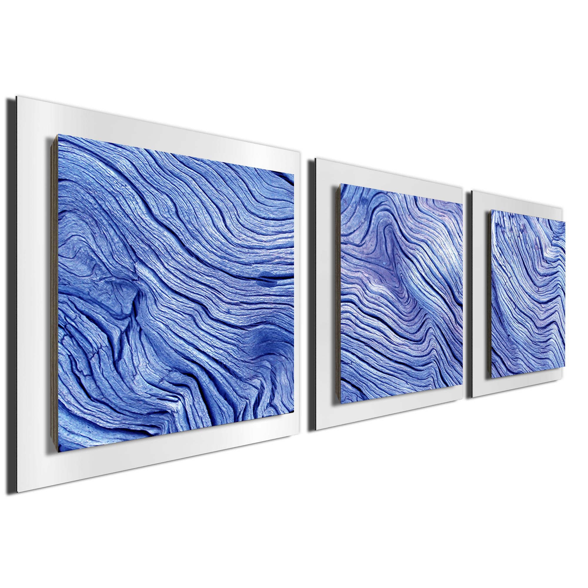 Blue Wood Essence White by Adam Schwoeppe Rustic Modern Style Wood Wall Art - Image 2