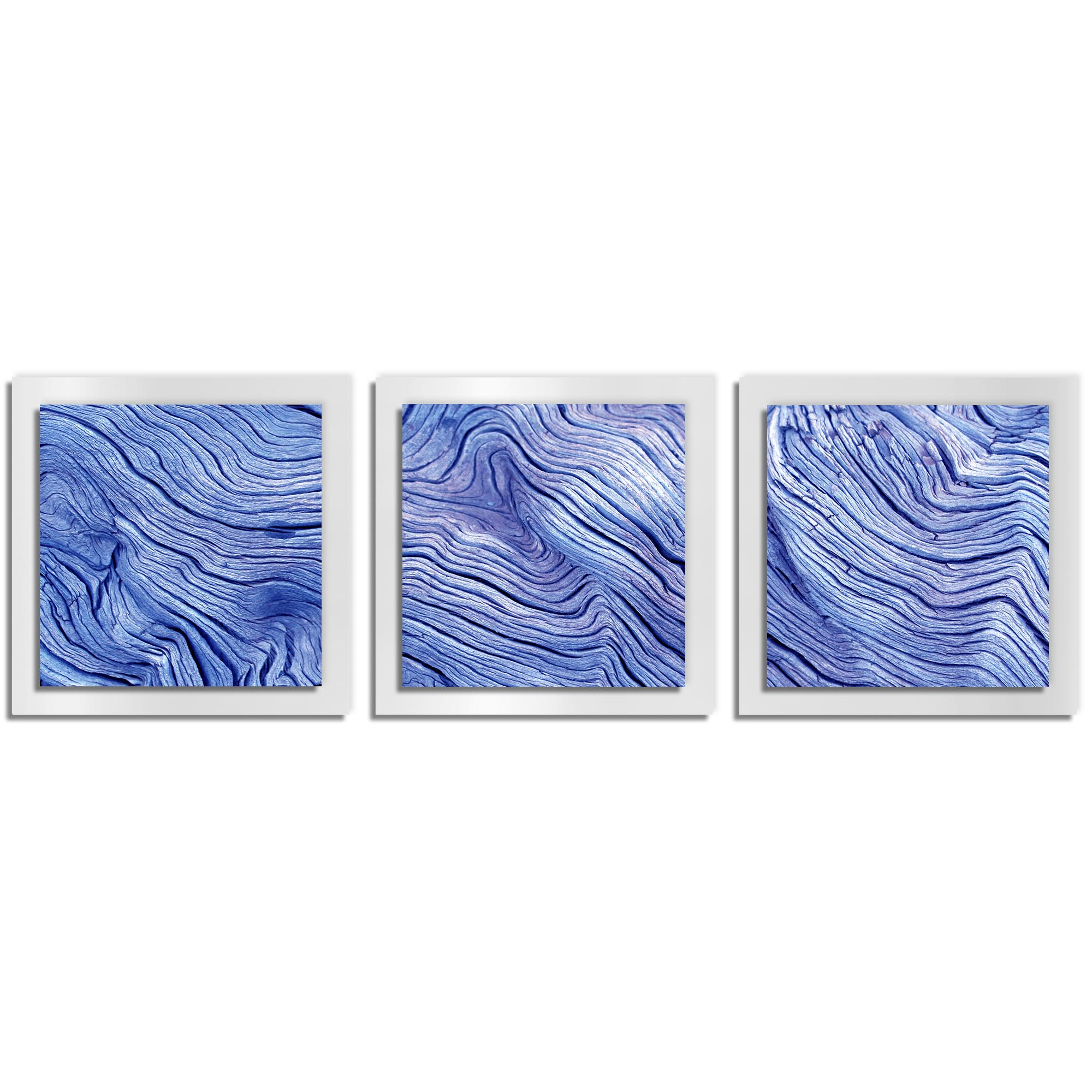 Adam Schwoeppe 'Blue Wood Essence White' 38in x 12in Contemporary Style Wood Wall Art