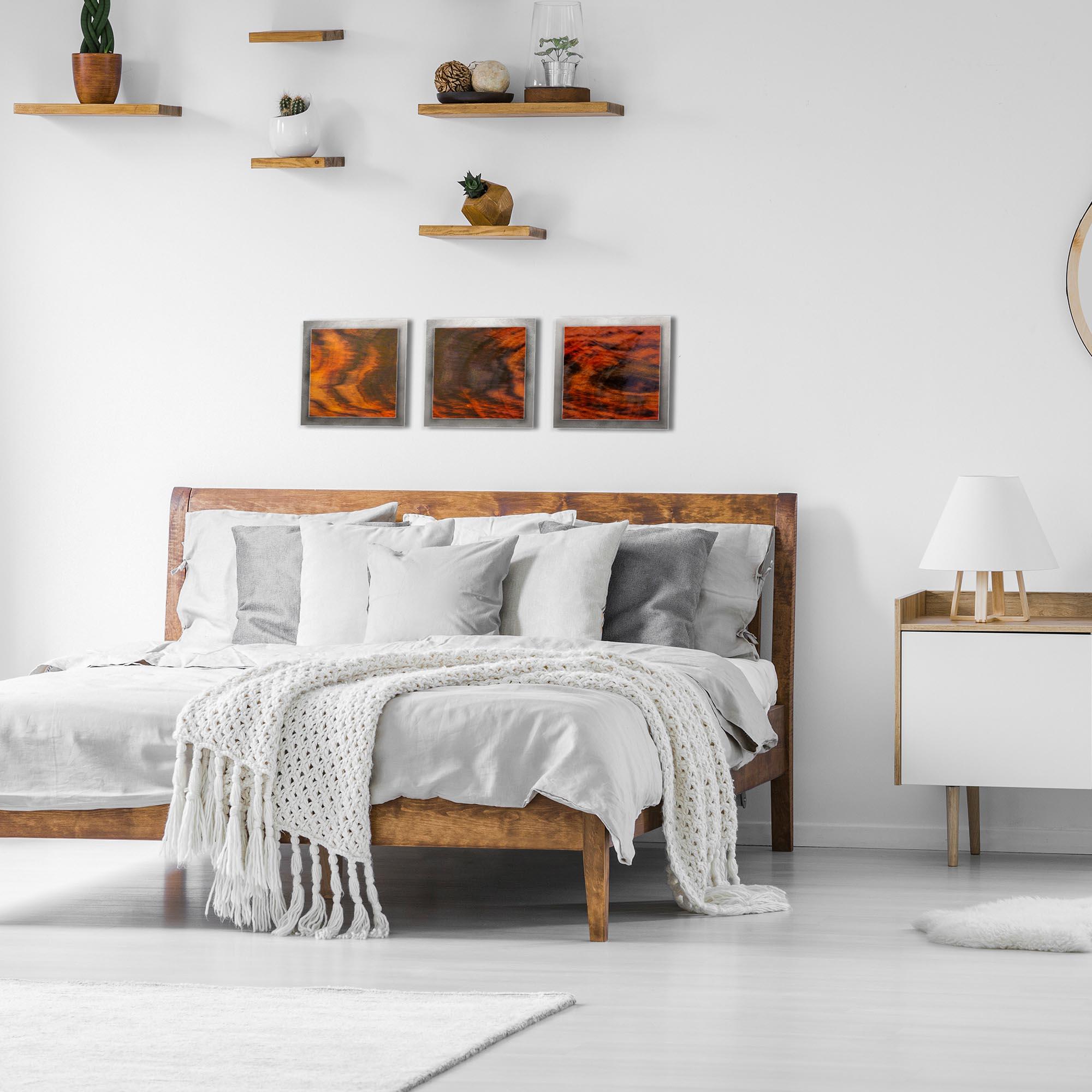 Burnt Wood Essence Silver by Adam Schwoeppe Rustic Modern Style Wood Wall Art - Lifestyle View