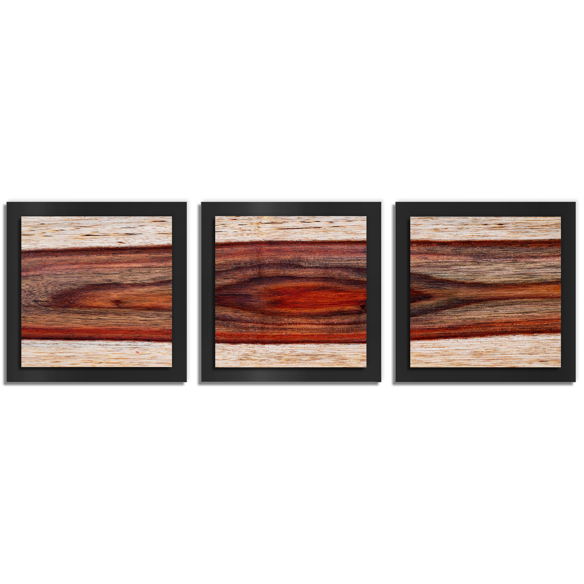 Adam Schwoeppe 'Auburn Wood Essence Black' 38in x 12in Contemporary Style Wood Wall Art