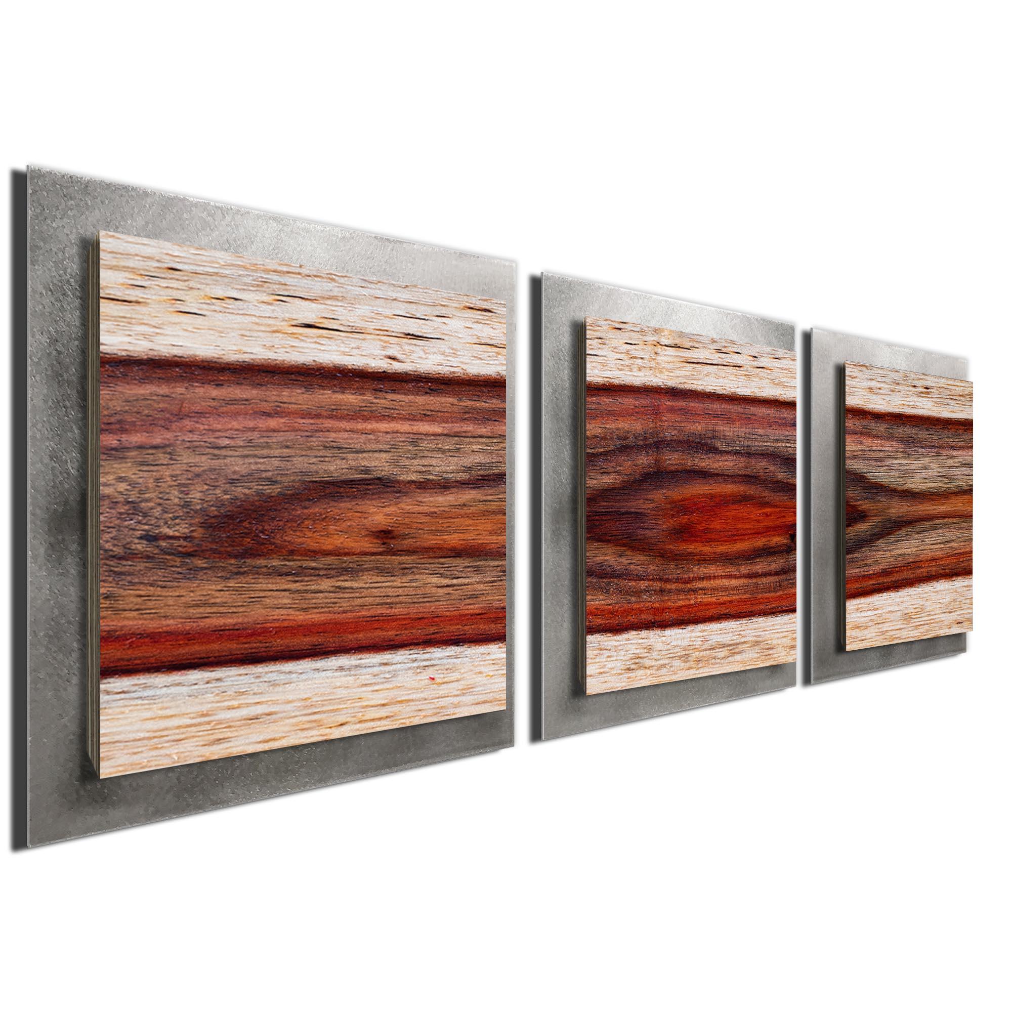 Auburn Wood Essence Silver by Adam Schwoeppe Rustic Modern Style Wood Wall Art - Image 2