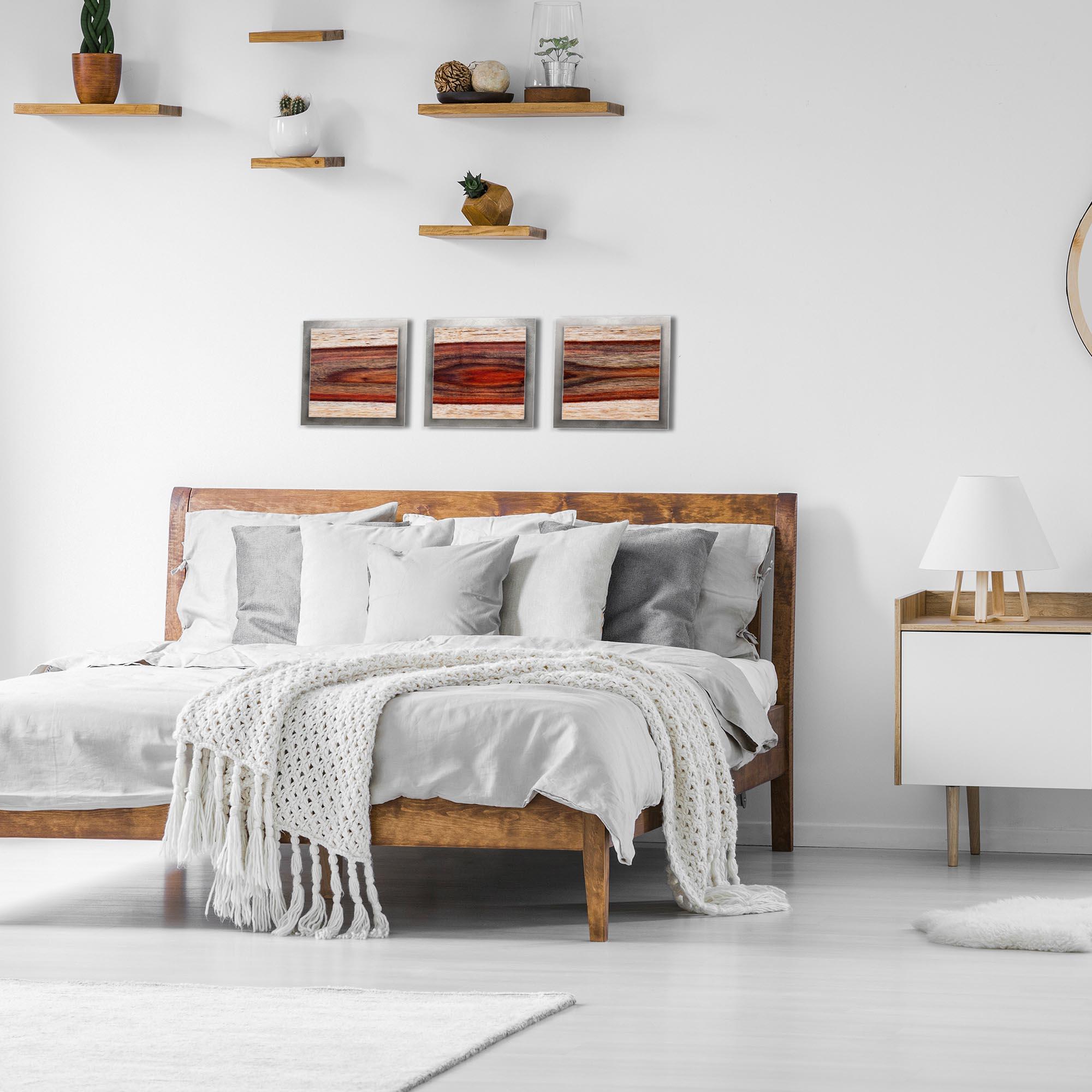 Auburn Wood Essence Silver by Adam Schwoeppe Rustic Modern Style Wood Wall Art - Lifestyle View
