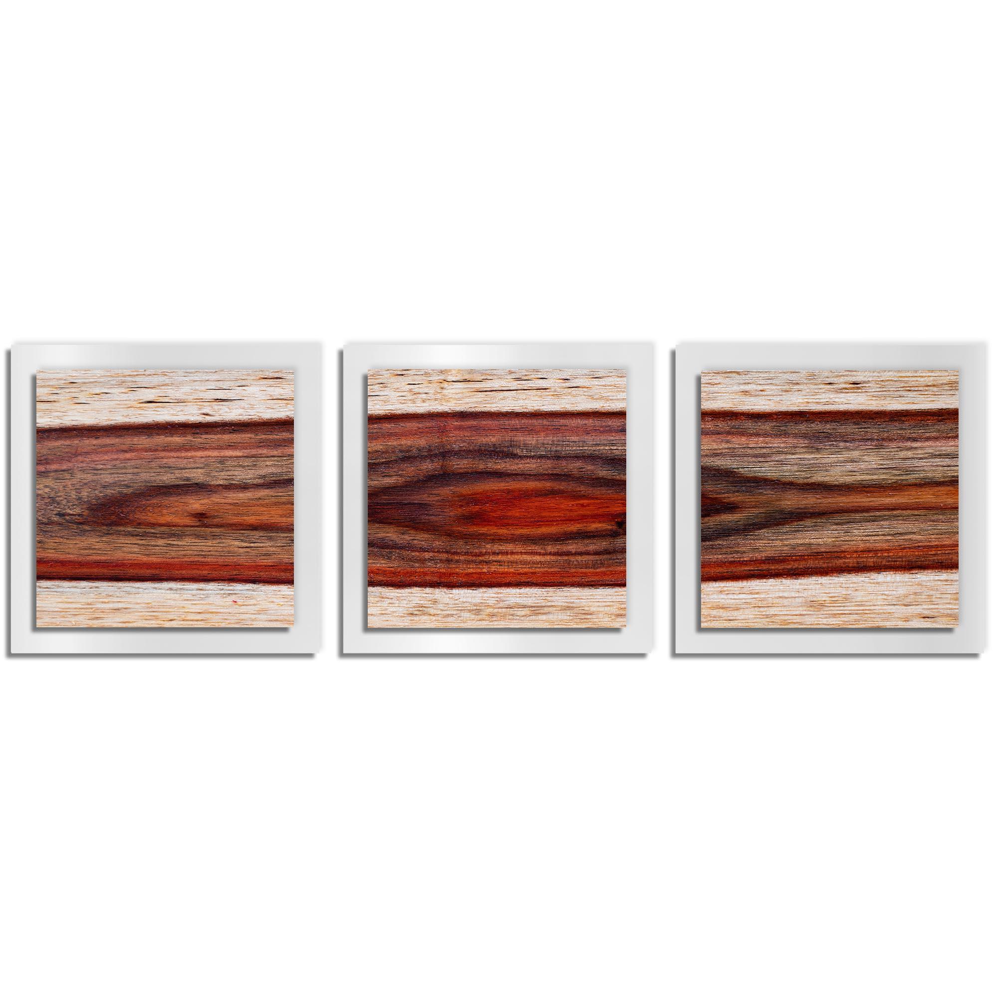 Adam Schwoeppe 'Auburn Wood Essence White' 38in x 12in Contemporary Style Wood Wall Art