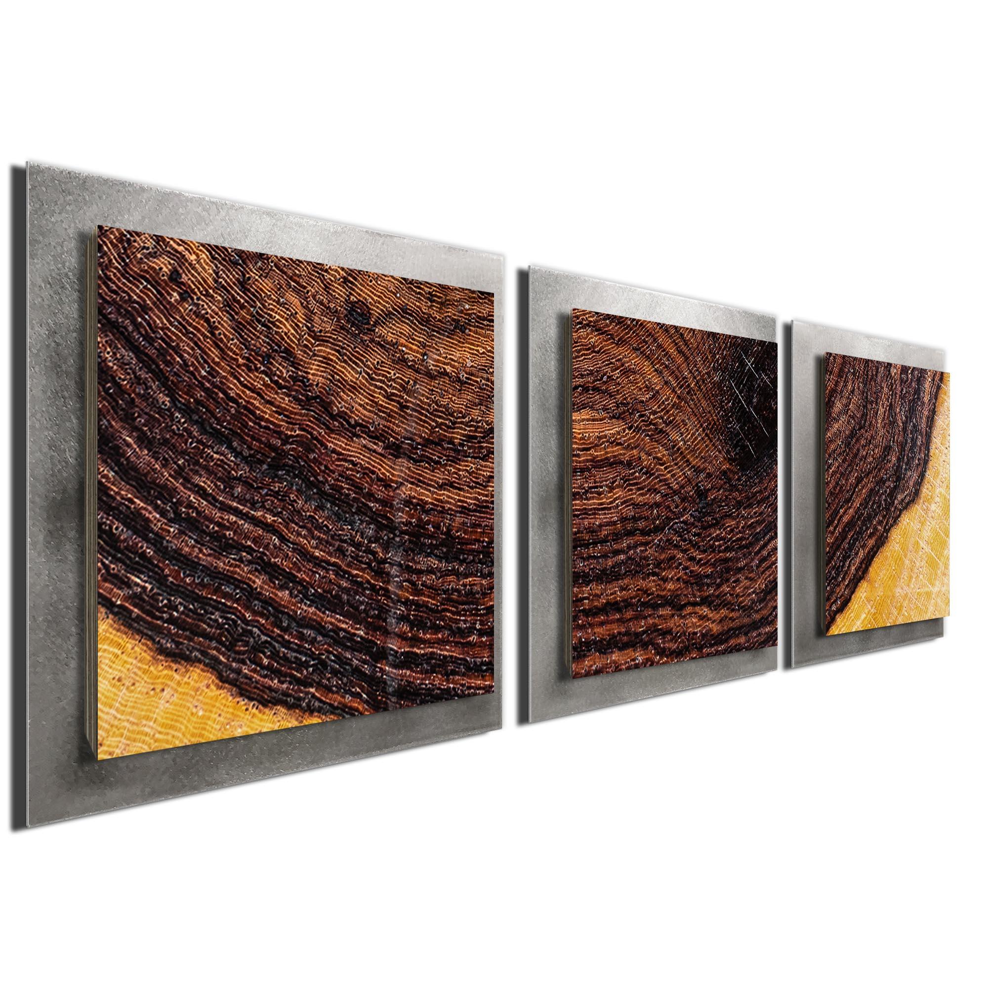 Bold Wood Essence Silver by Adam Schwoeppe Rustic Modern Style Wood Wall Art - Image 2