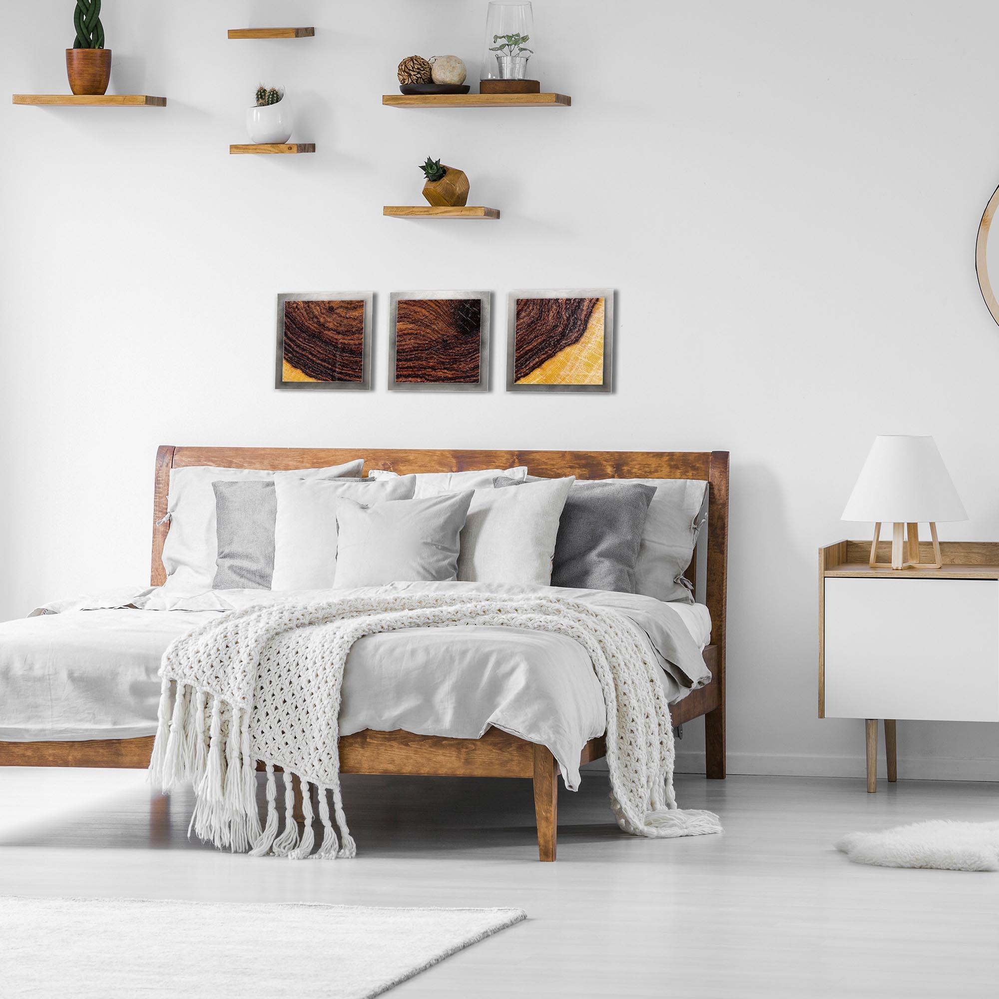 Bold Wood Essence Silver by Adam Schwoeppe Rustic Modern Style Wood Wall Art - Lifestyle View