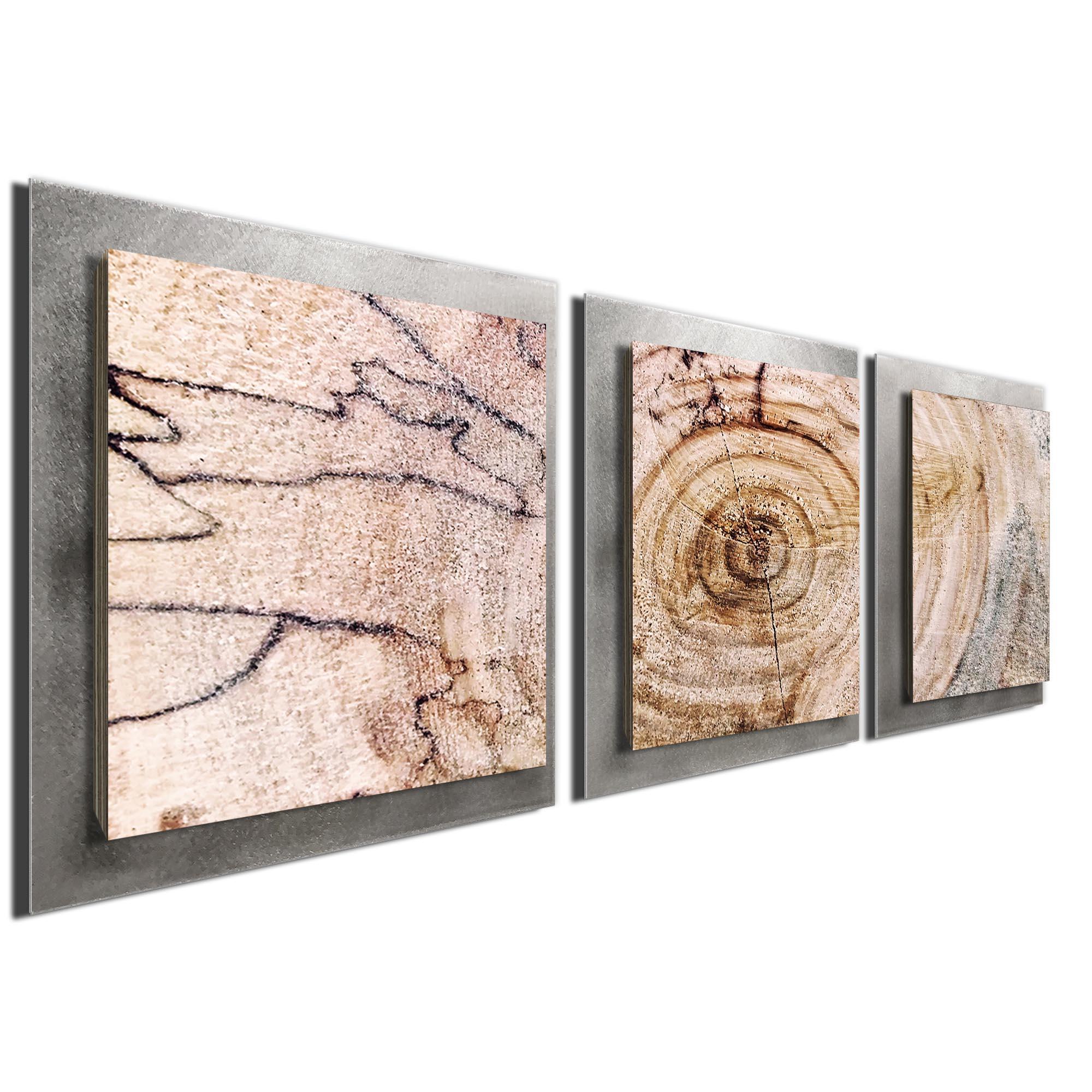 Aged Wood Essence Silver by Adam Schwoeppe Rustic Modern Style Wood Wall Art - Image 2