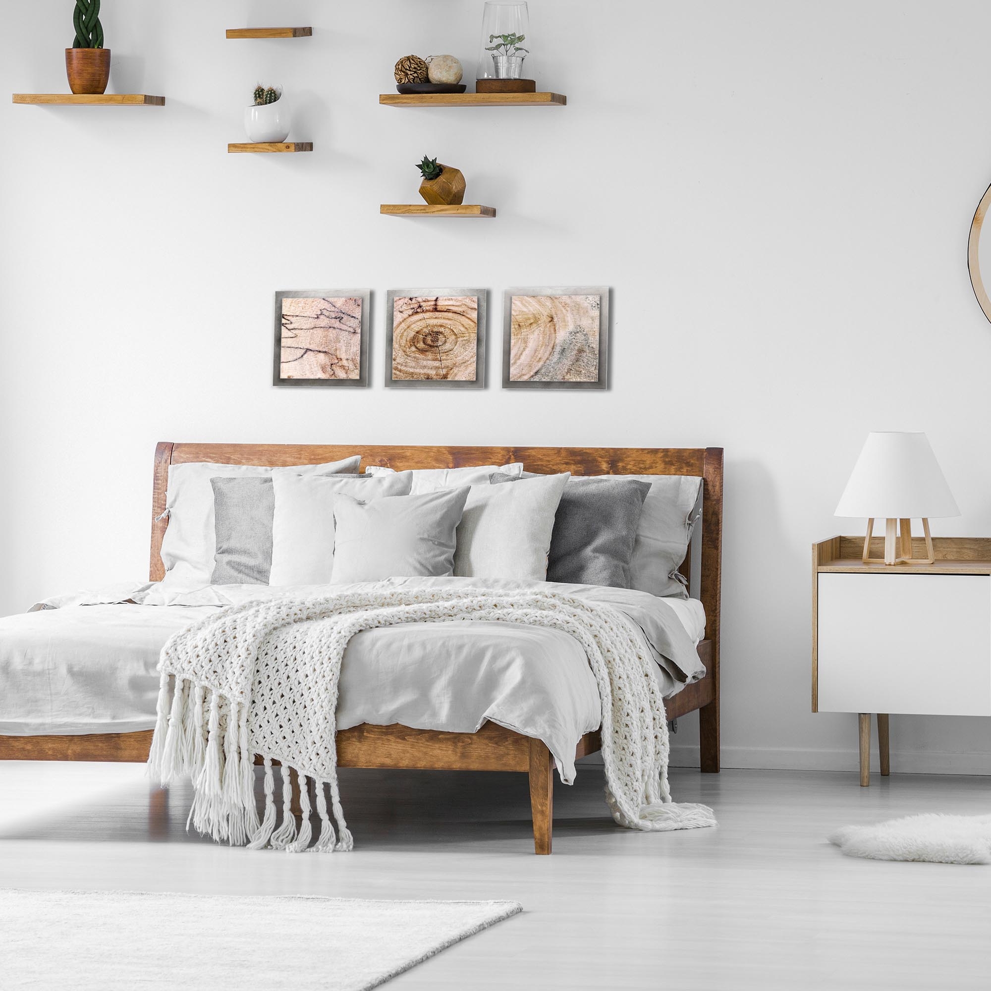 Aged Wood Essence Silver by Adam Schwoeppe Rustic Modern Style Wood Wall Art - Lifestyle View