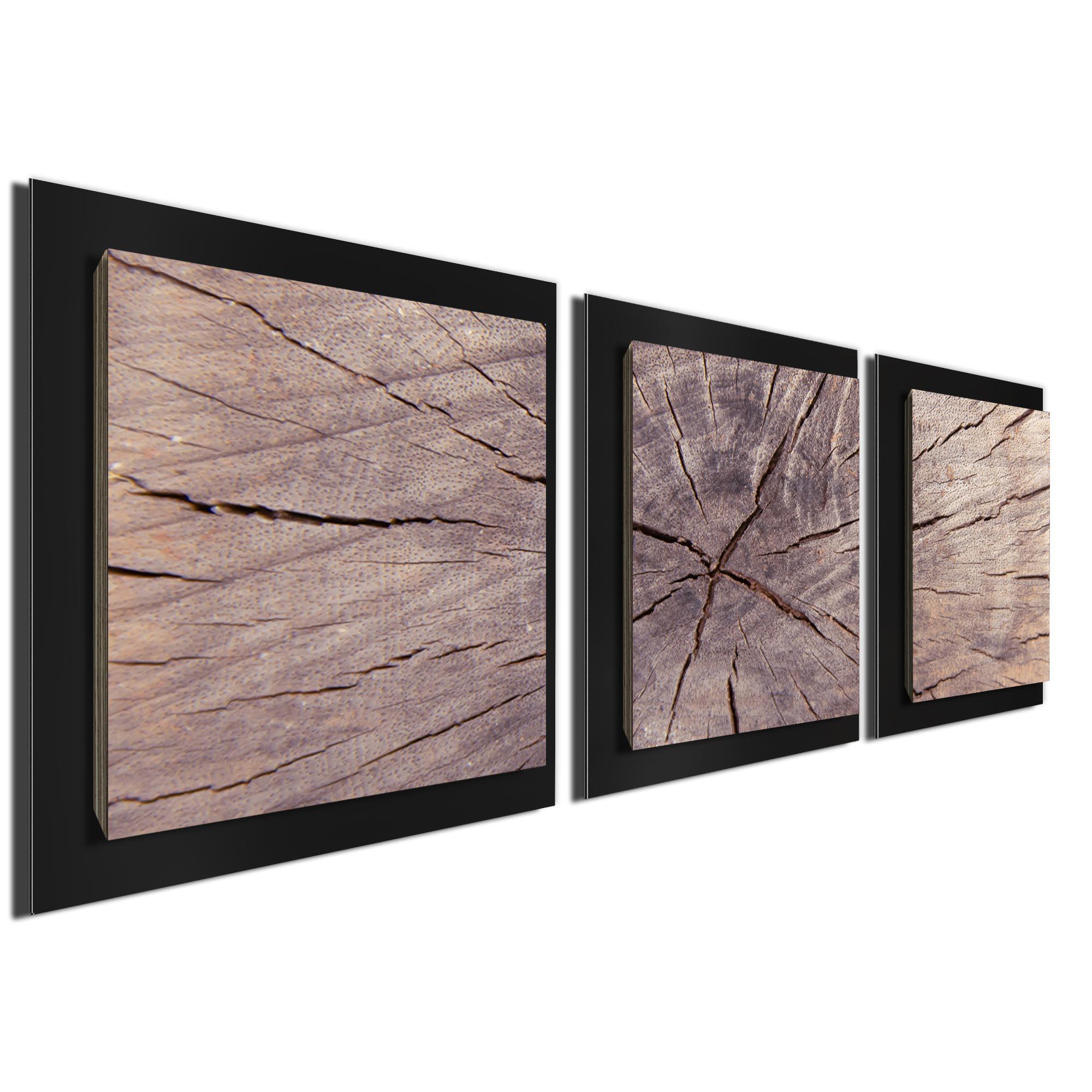 Cracked Wood Essence Black by Adam Schwoeppe Rustic Modern Style Wood Wall Art - Image 2