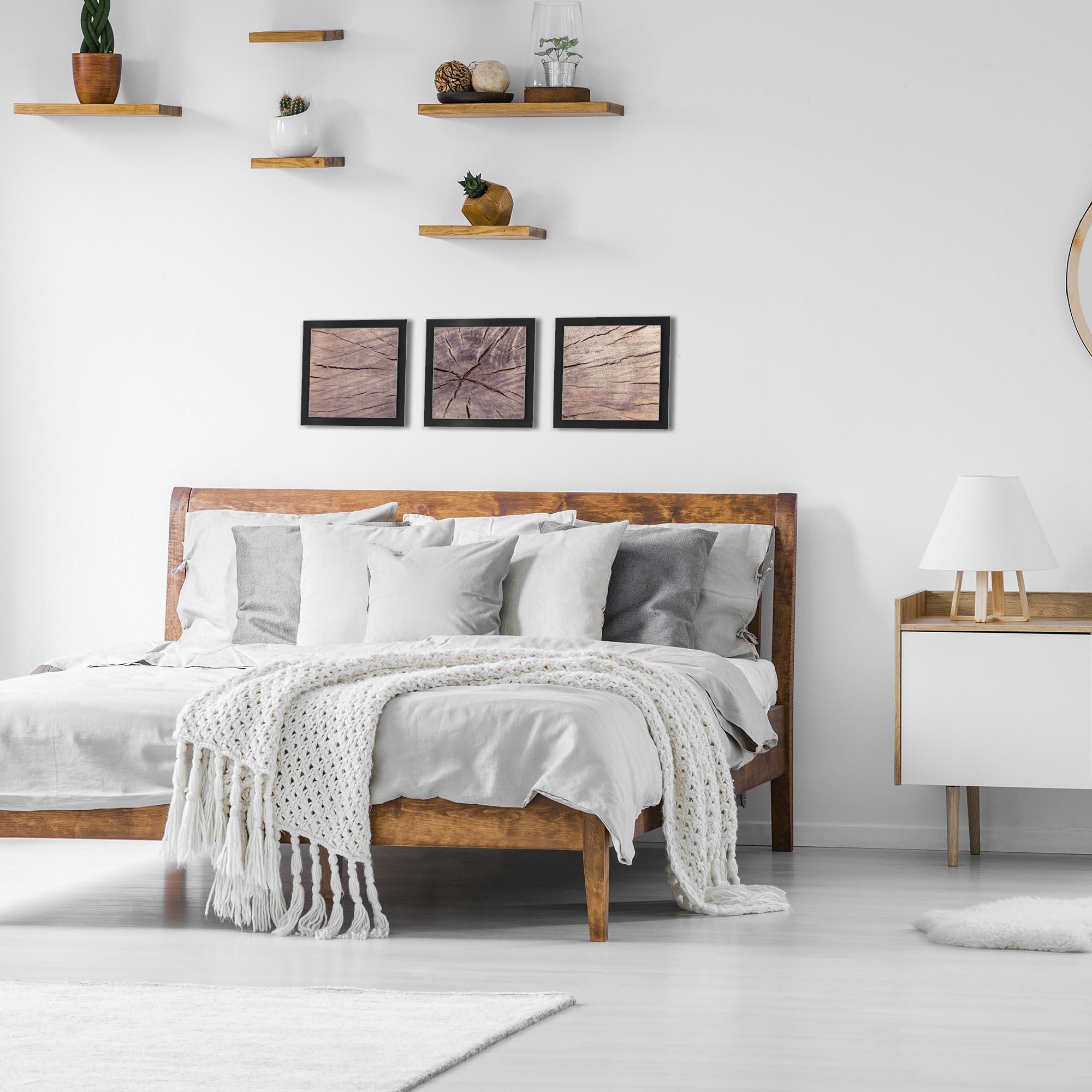 Cracked Wood Essence Black by Adam Schwoeppe Rustic Modern Style Wood Wall Art - Lifestyle View