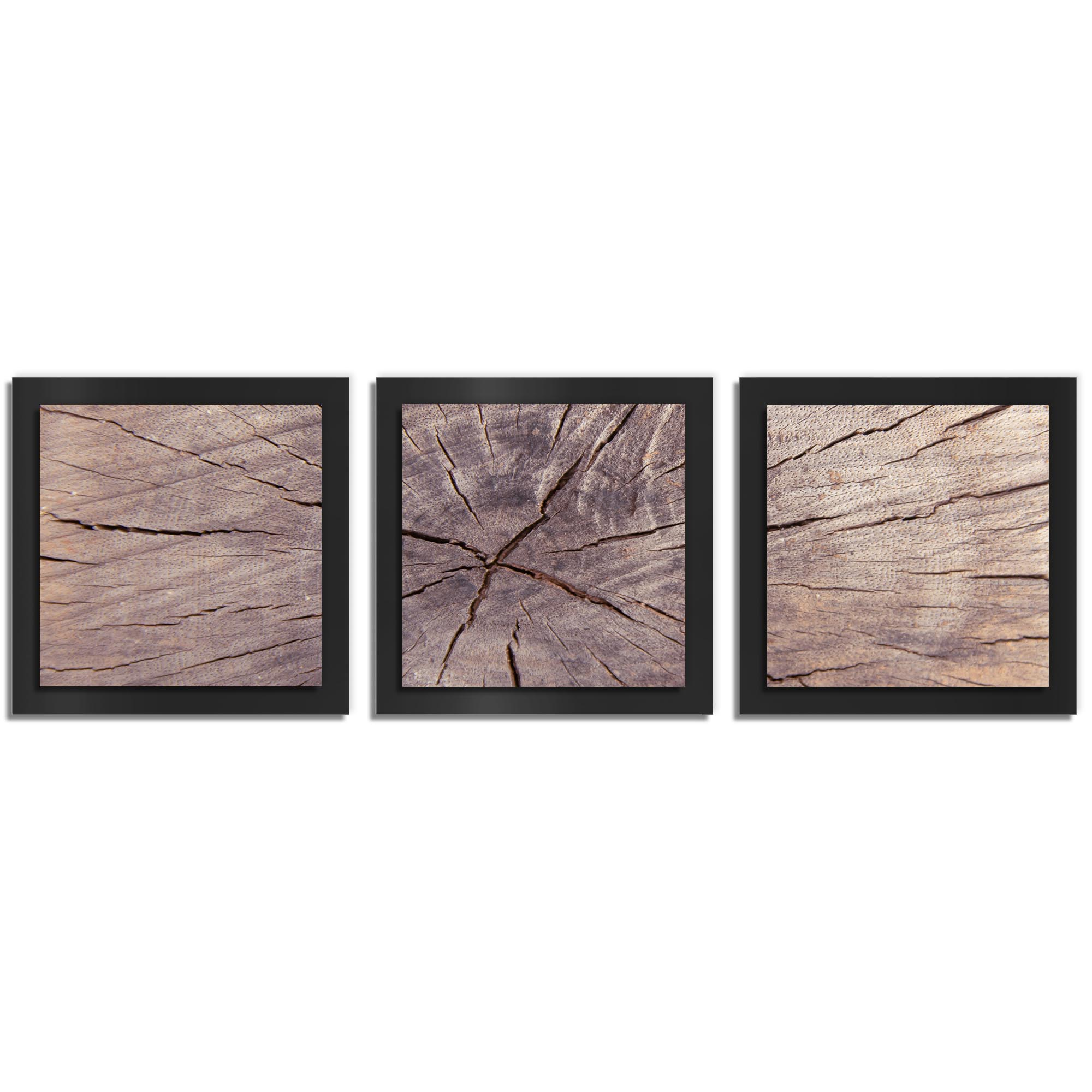 Adam Schwoeppe 'Cracked Wood Essence Black' 38in x 12in Contemporary Style Wood Wall Art