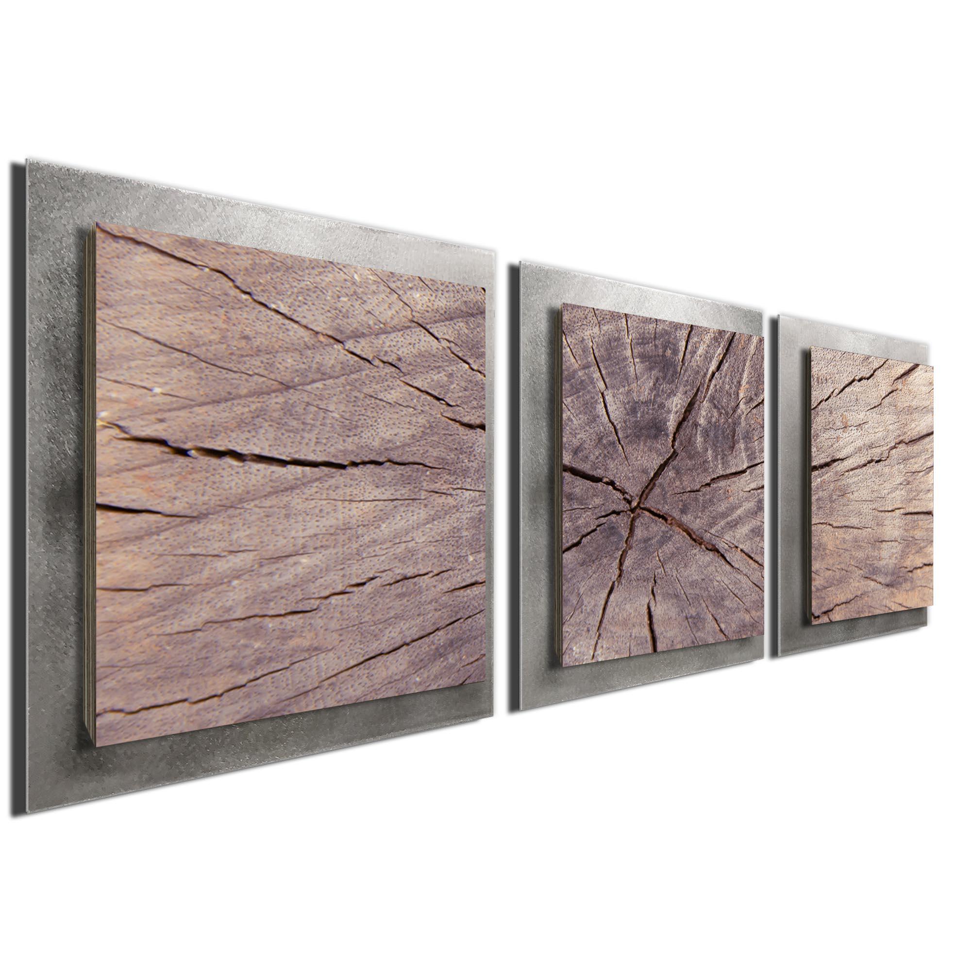 Cracked Wood Essence Silver by Adam Schwoeppe Rustic Modern Style Wood Wall Art - Image 2