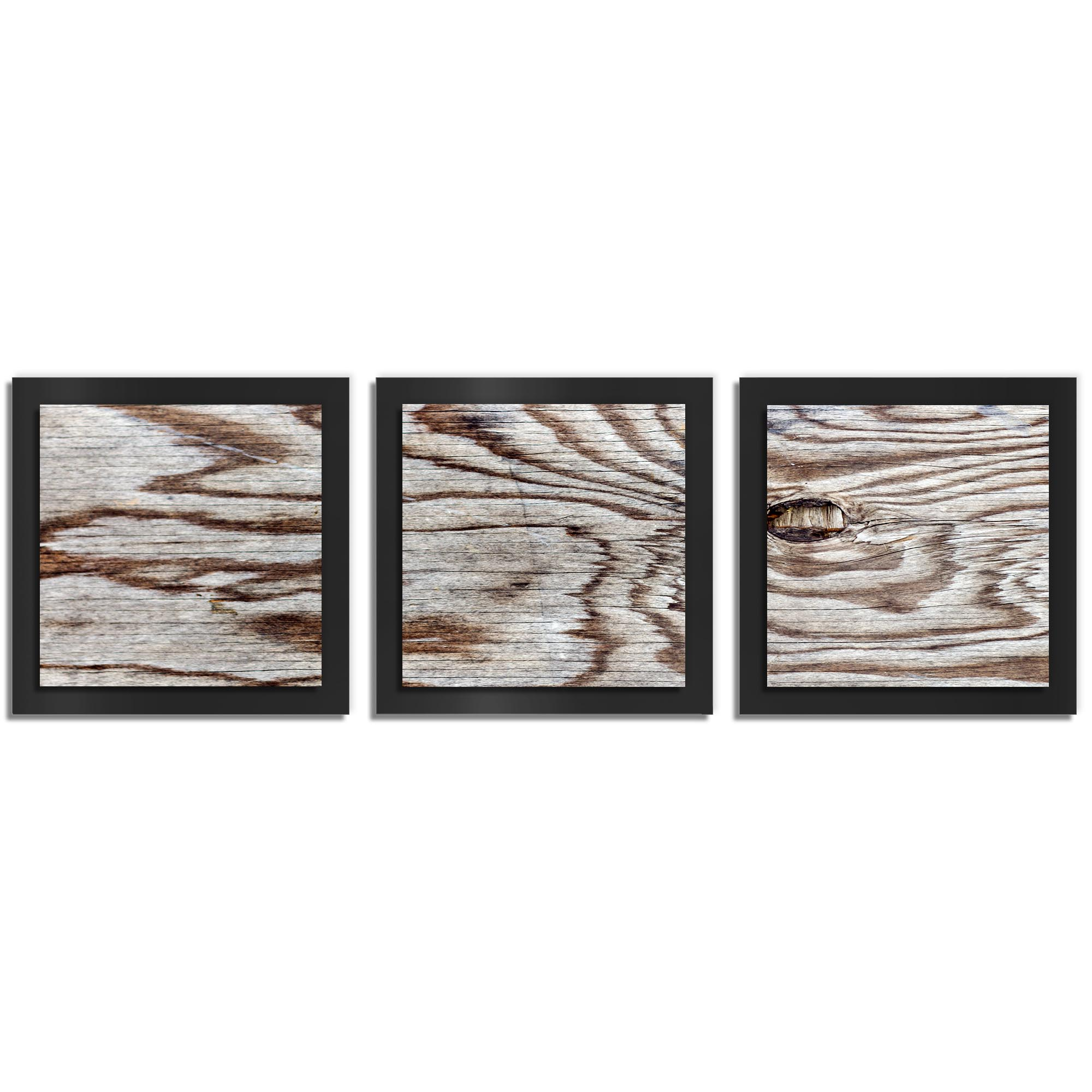Adam Schwoeppe 'Weathered Wood Essence Black' 38in x 12in Contemporary Style Wood Wall Art