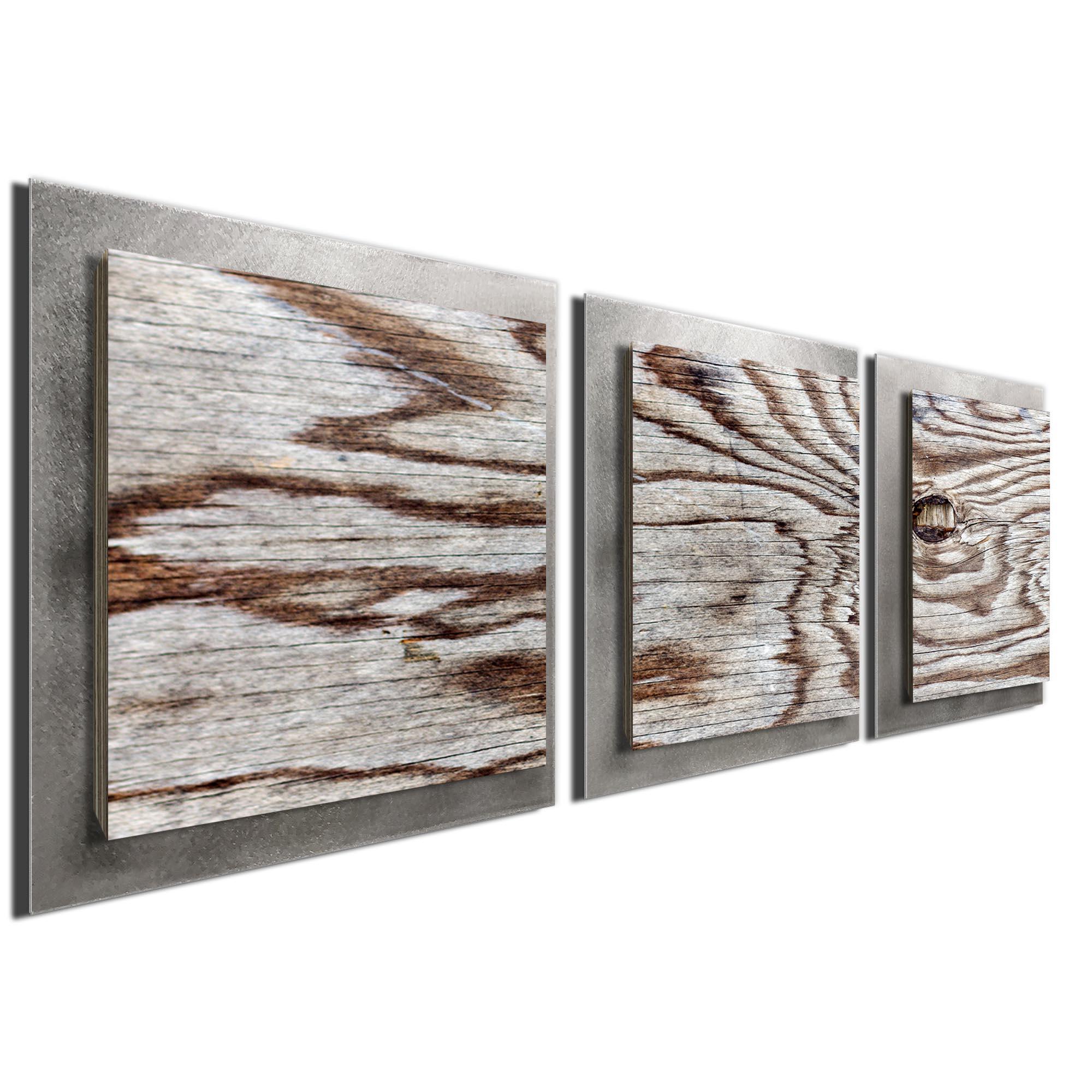 Weathered Wood Essence Silver by Adam Schwoeppe Rustic Modern Style Wood Wall Art - Image 2