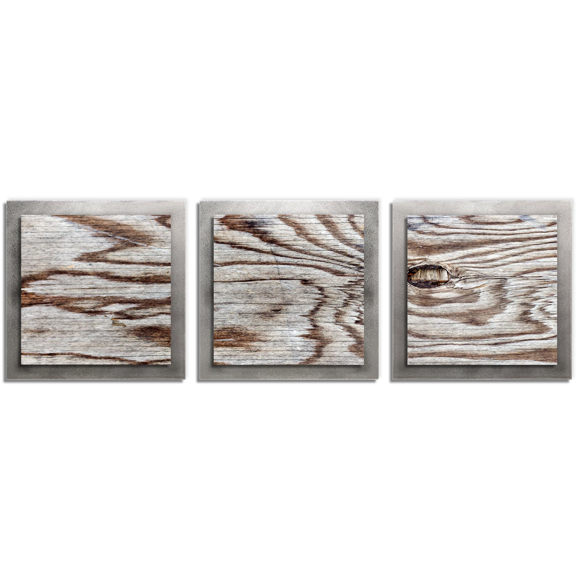Adam Schwoeppe 'Weathered Wood Essence Silver' 38in x 12in Contemporary Style Wood Wall Art