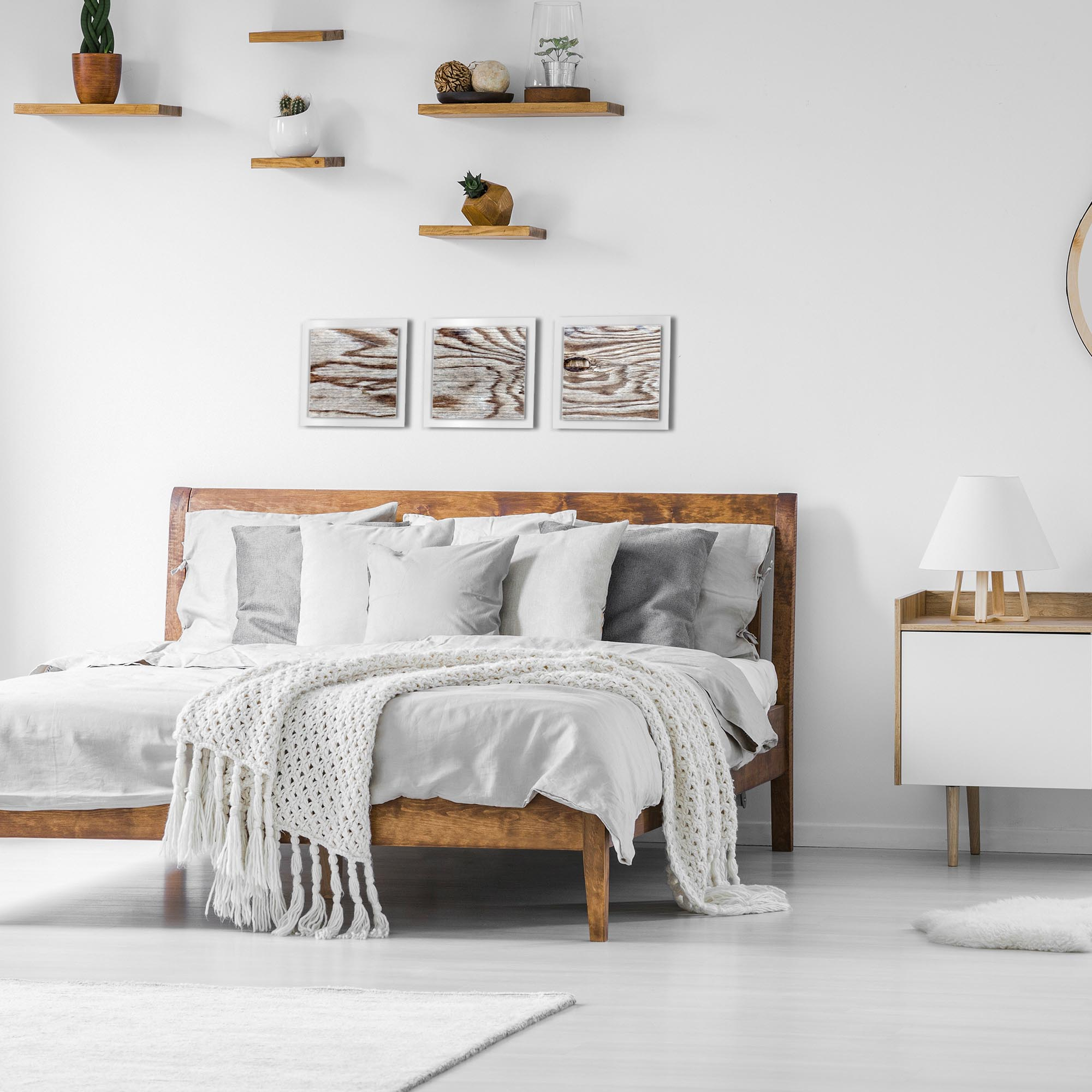 Weathered Wood Essence White by Adam Schwoeppe Rustic Modern Style Wood Wall Art - Lifestyle View