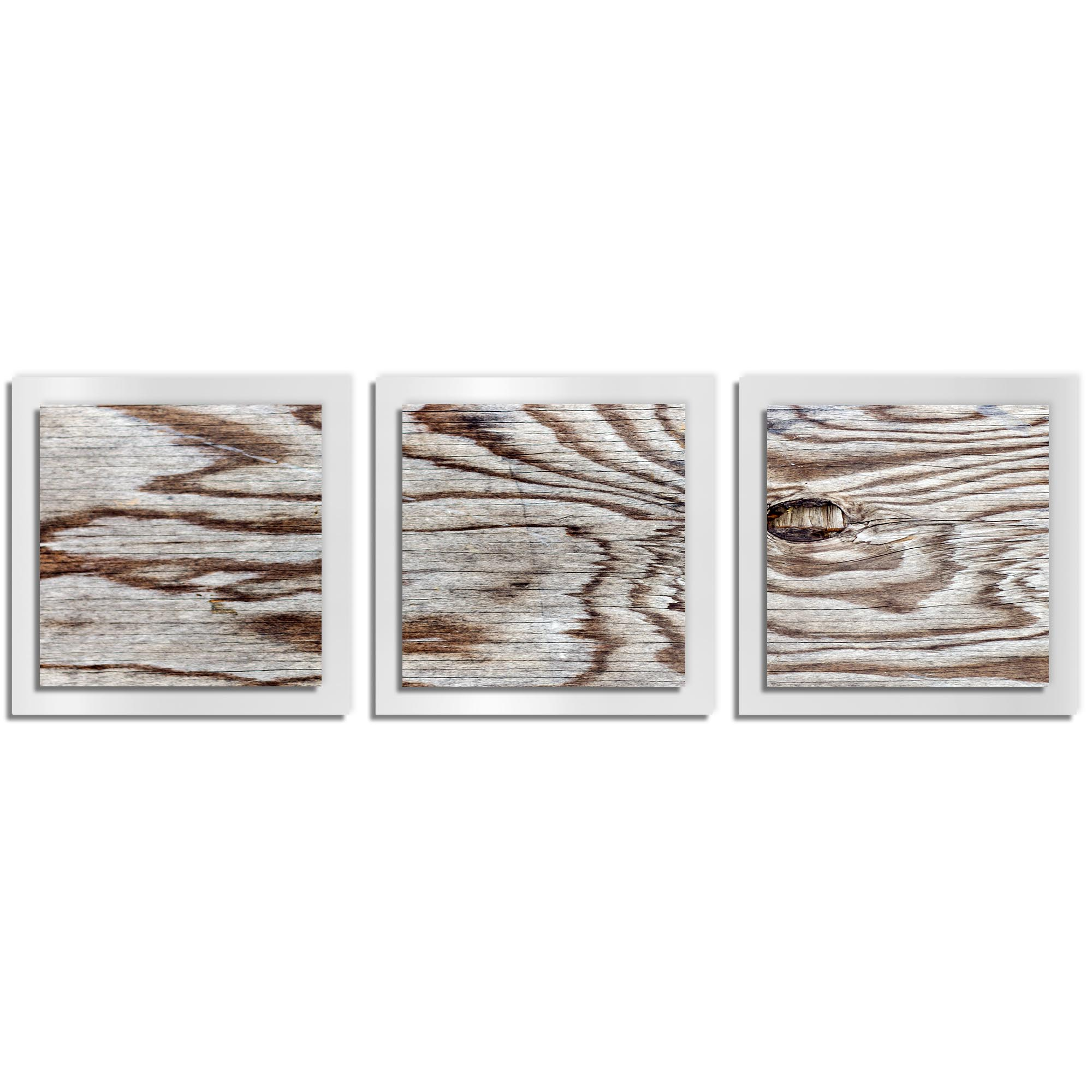 Adam Schwoeppe 'Weathered Wood Essence White' 38in x 12in Contemporary Style Wood Wall Art