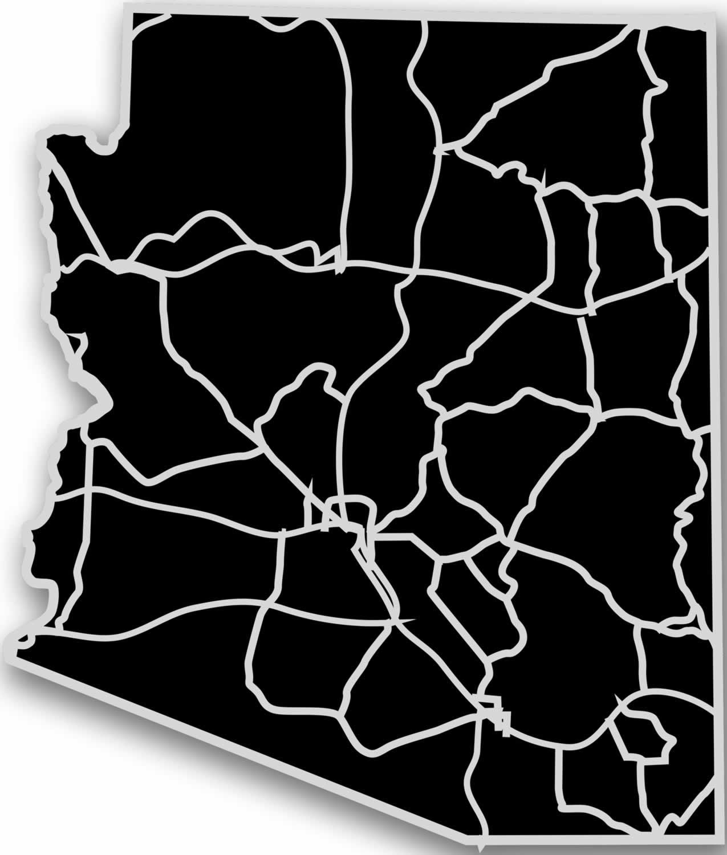 Arizona - Acrylic Cutout State Map - Black/Grey USA States Acrylic Art