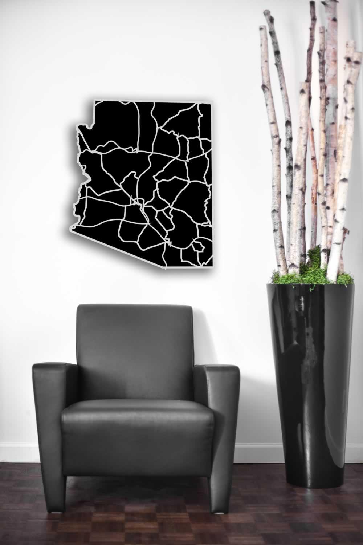 Arizona - Acrylic Cutout State Map - Black/Grey USA States Acrylic Art - Lifestyle Image