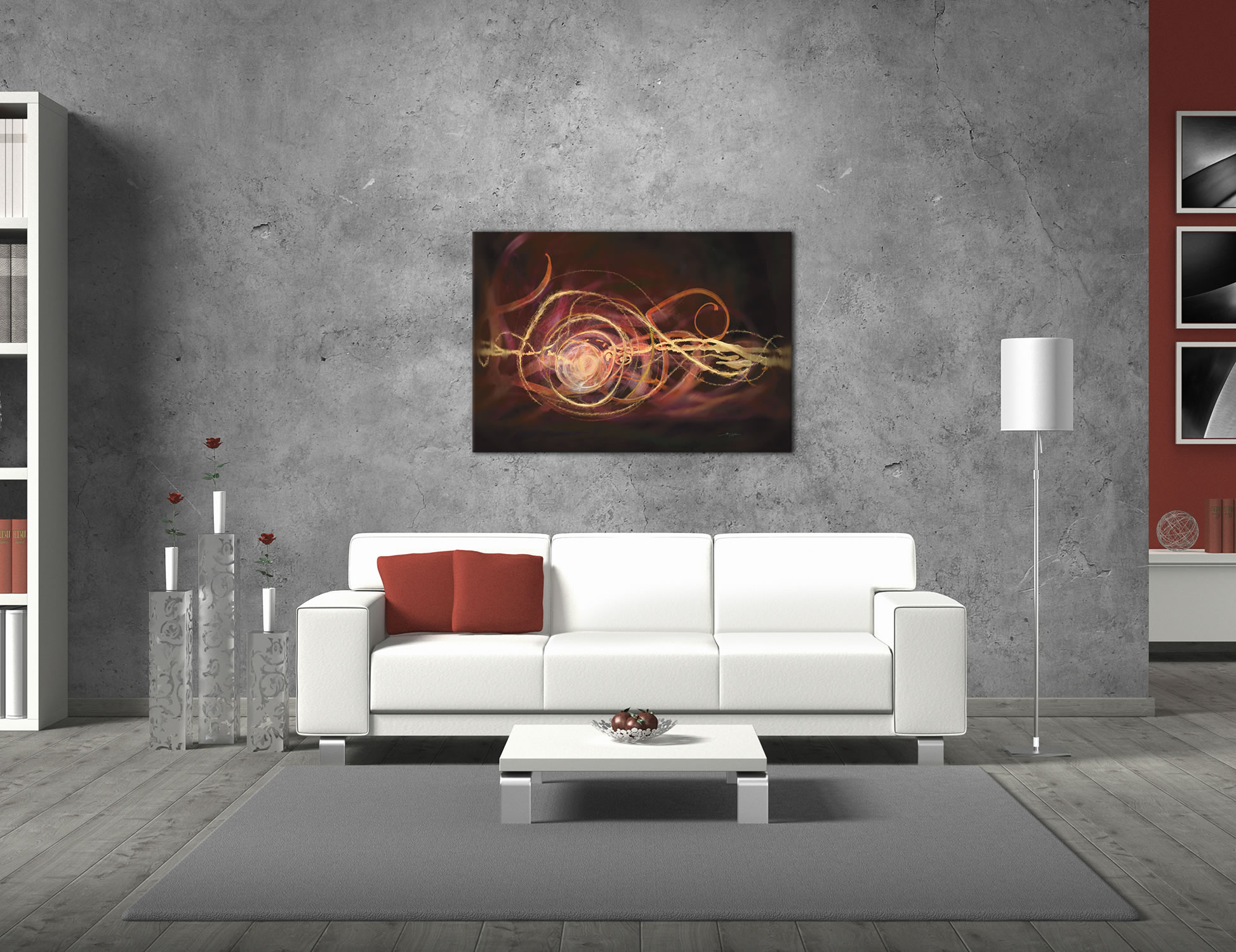 Warm Blend - Urban Abstract Art on Metal - Lifestyle Image