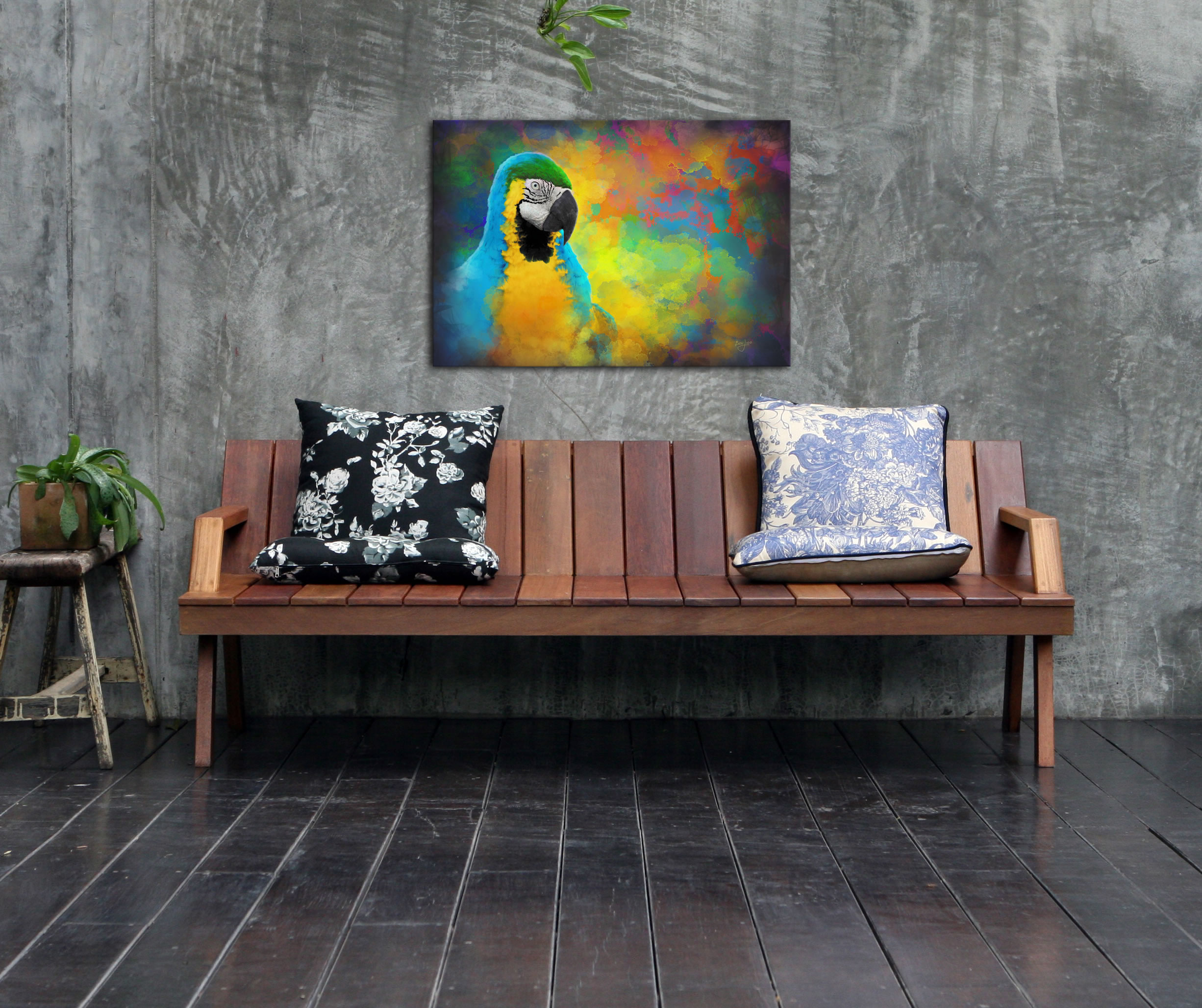 Parrot Splotch - Contemporary Rainbow Bird Art on Metal - Lifestyle Image