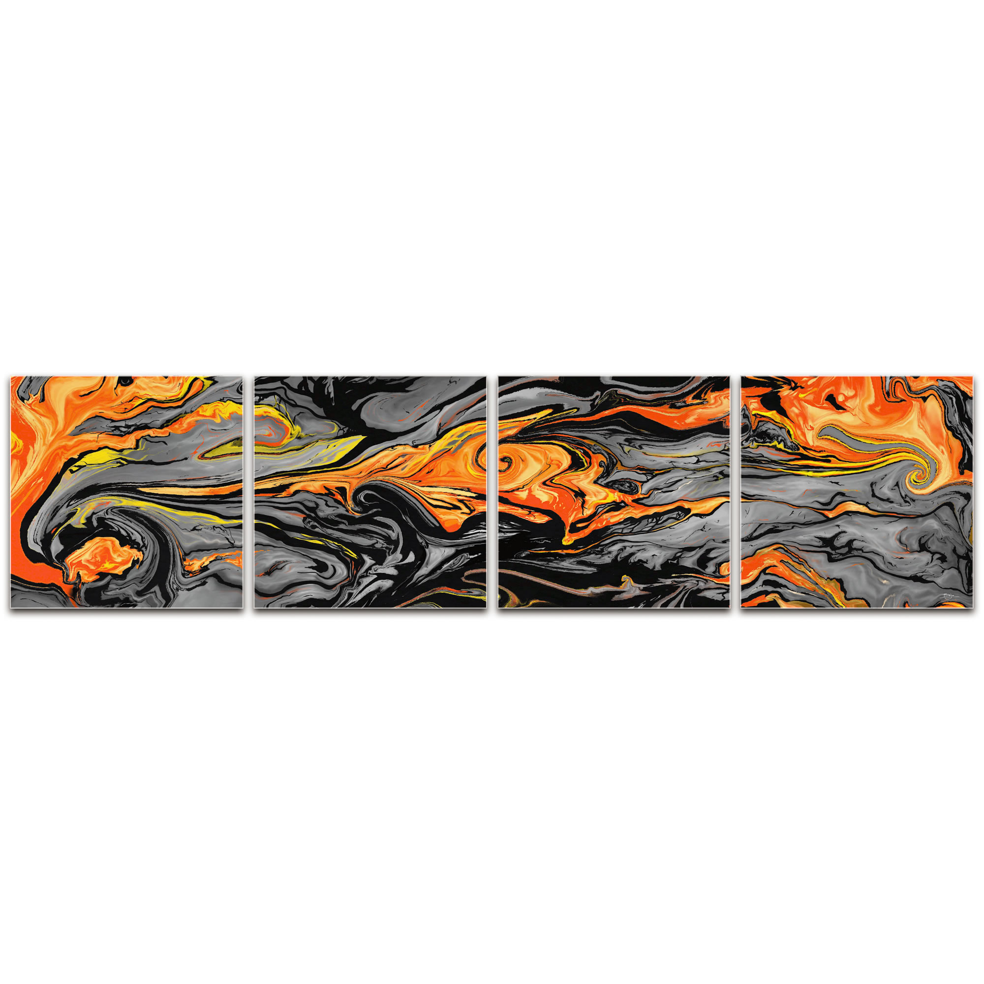 Lava Orange - Reverse-Print Acrylic Abstract Art