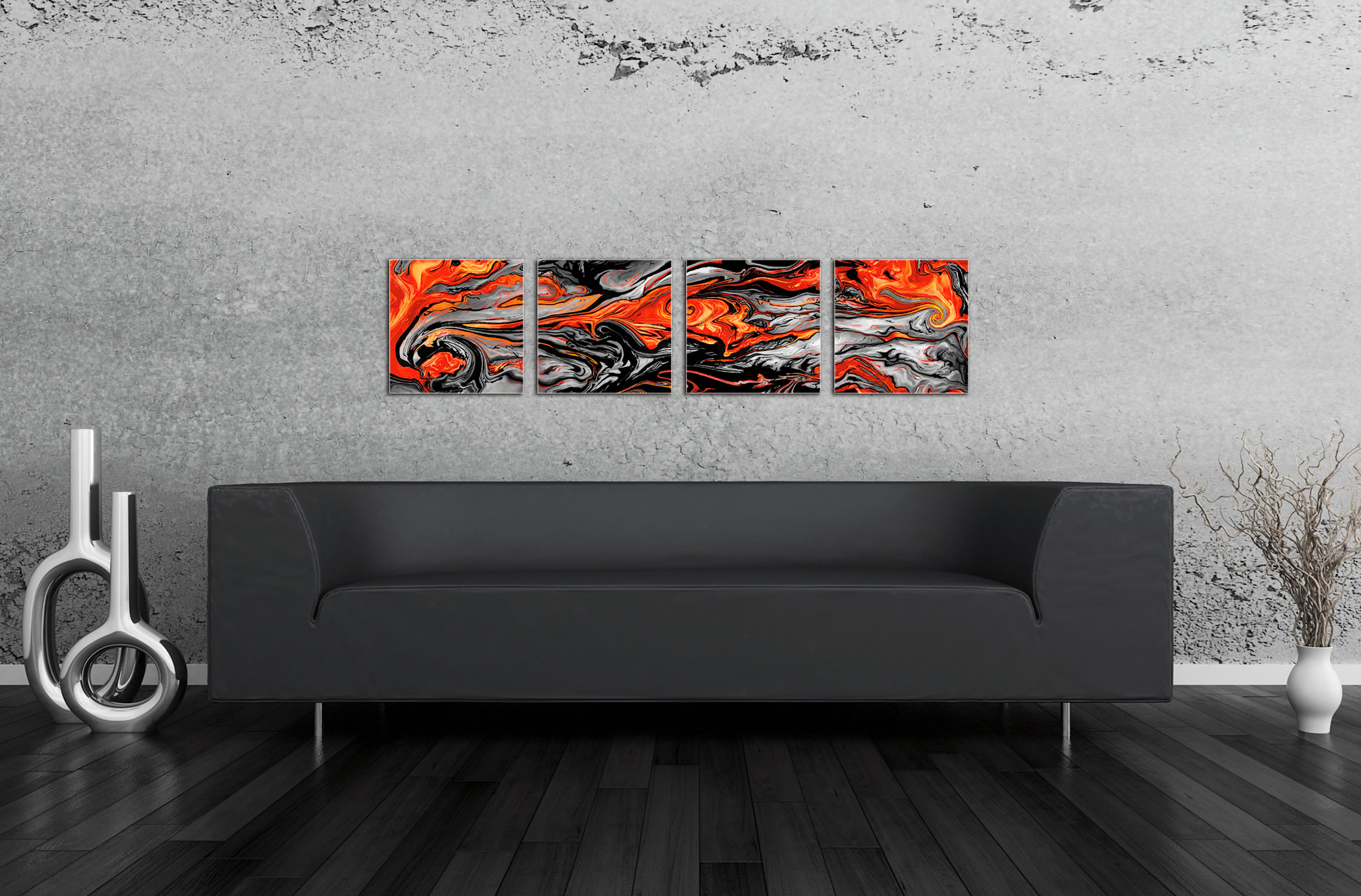 Lava Red - Reverse-Print Acrylic Abstract Art - Lifestyle Image