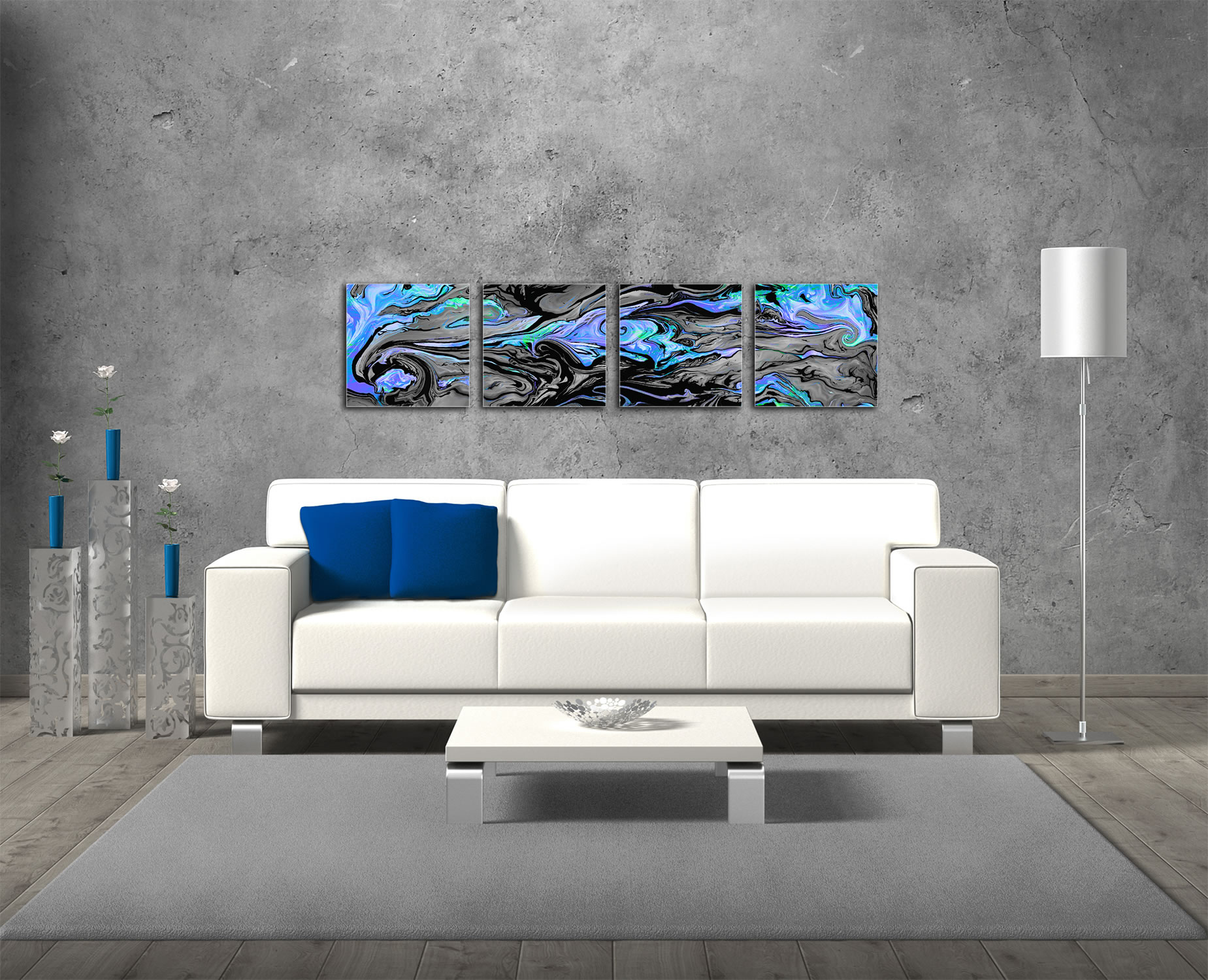 Lava Blue - Reverse-Print Acrylic Abstract Art - Lifestyle Image