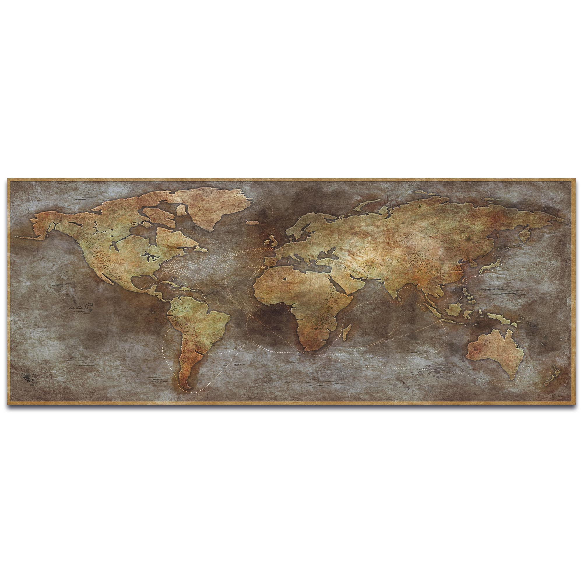 World Map Art '1800s Trade Routes Map' - Old World Wall Decor on Metal or Acrylic